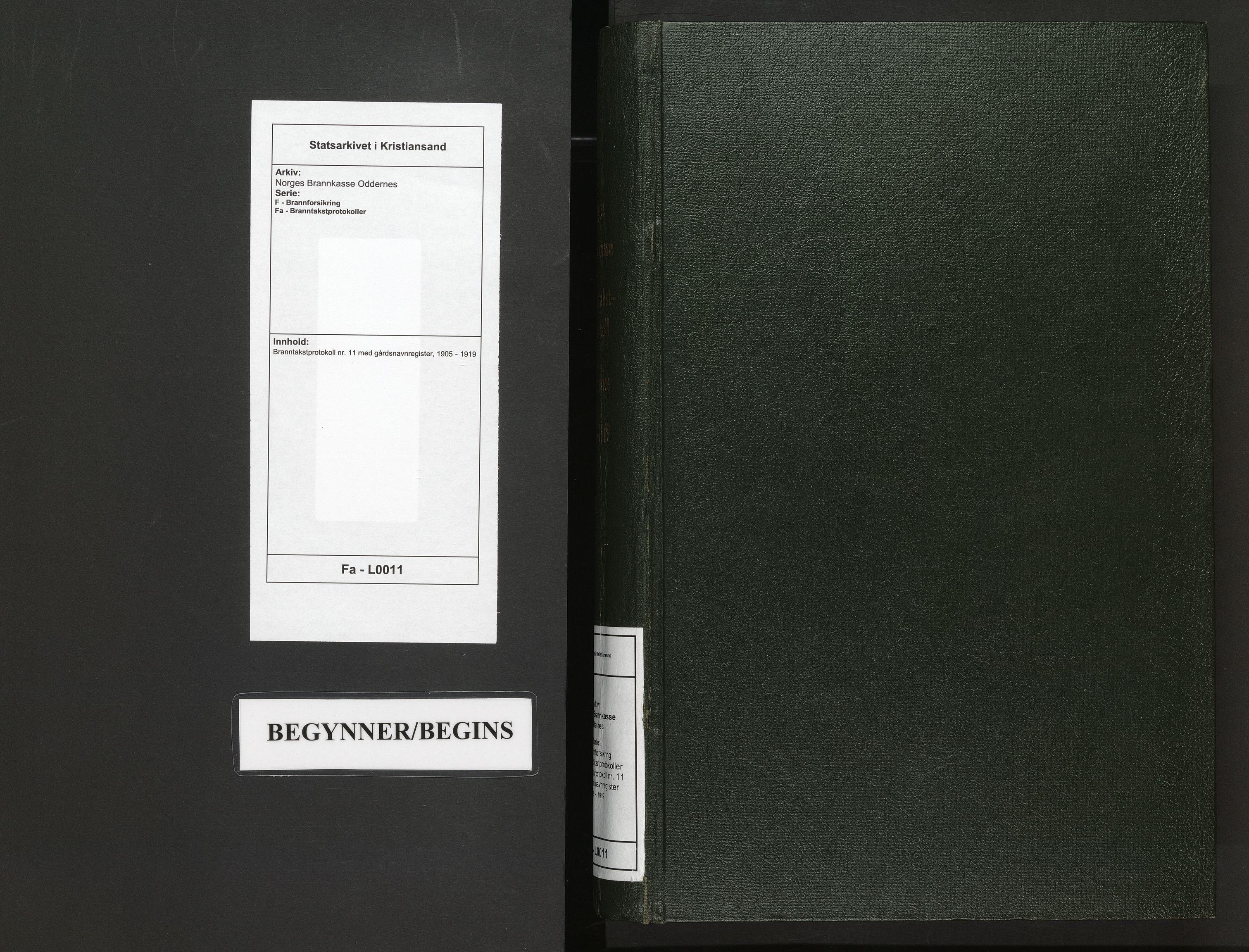 SAK, Norges Brannkasse Oddernes, F/Fa/L0011: Branntakstprotokoll nr. 11 med gårdsnavnregister, 1905-1919