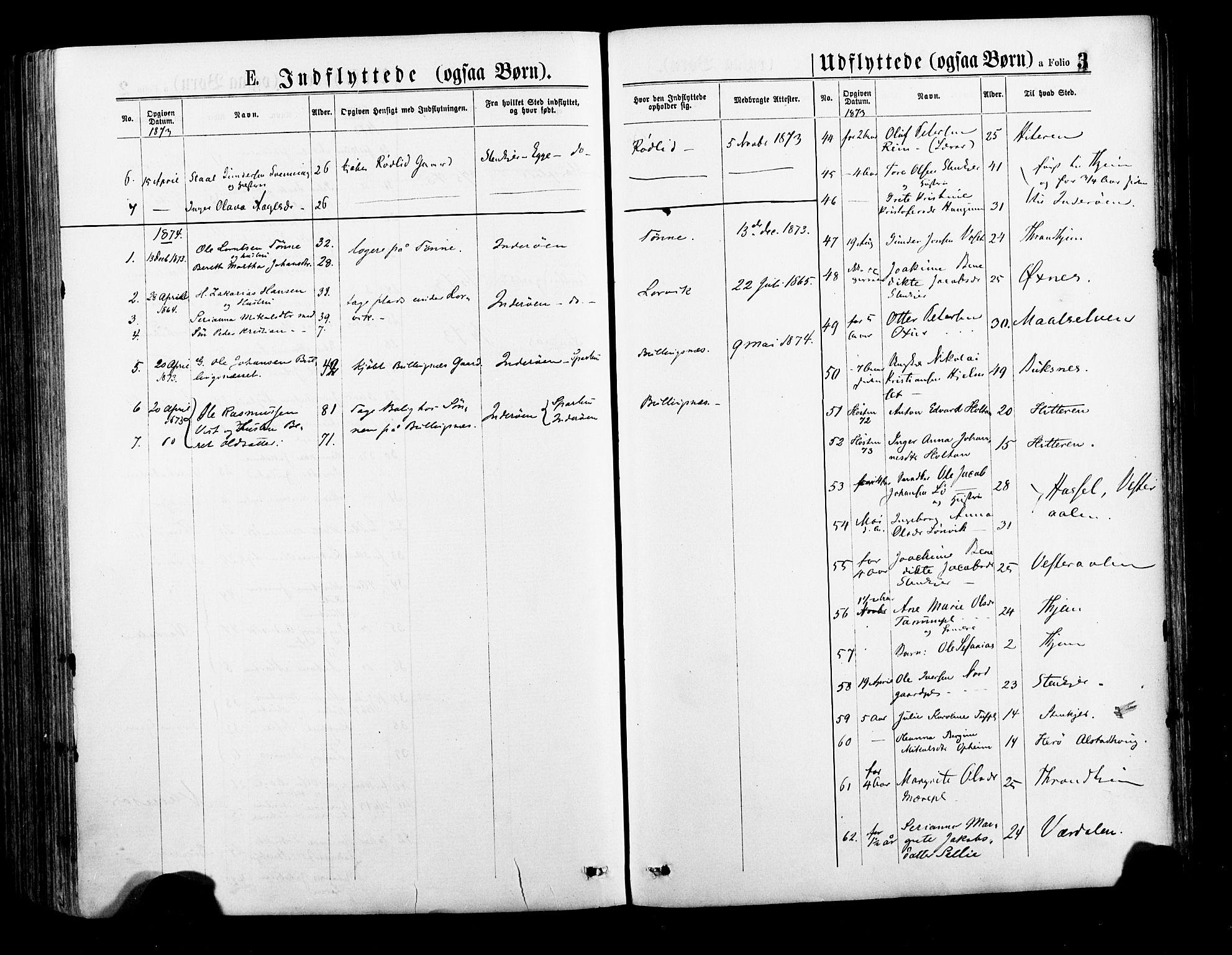 SAT, Ministerialprotokoller, klokkerbøker og fødselsregistre - Nord-Trøndelag, 735/L0348: Ministerialbok nr. 735A09 /1, 1873-1883, s. 3