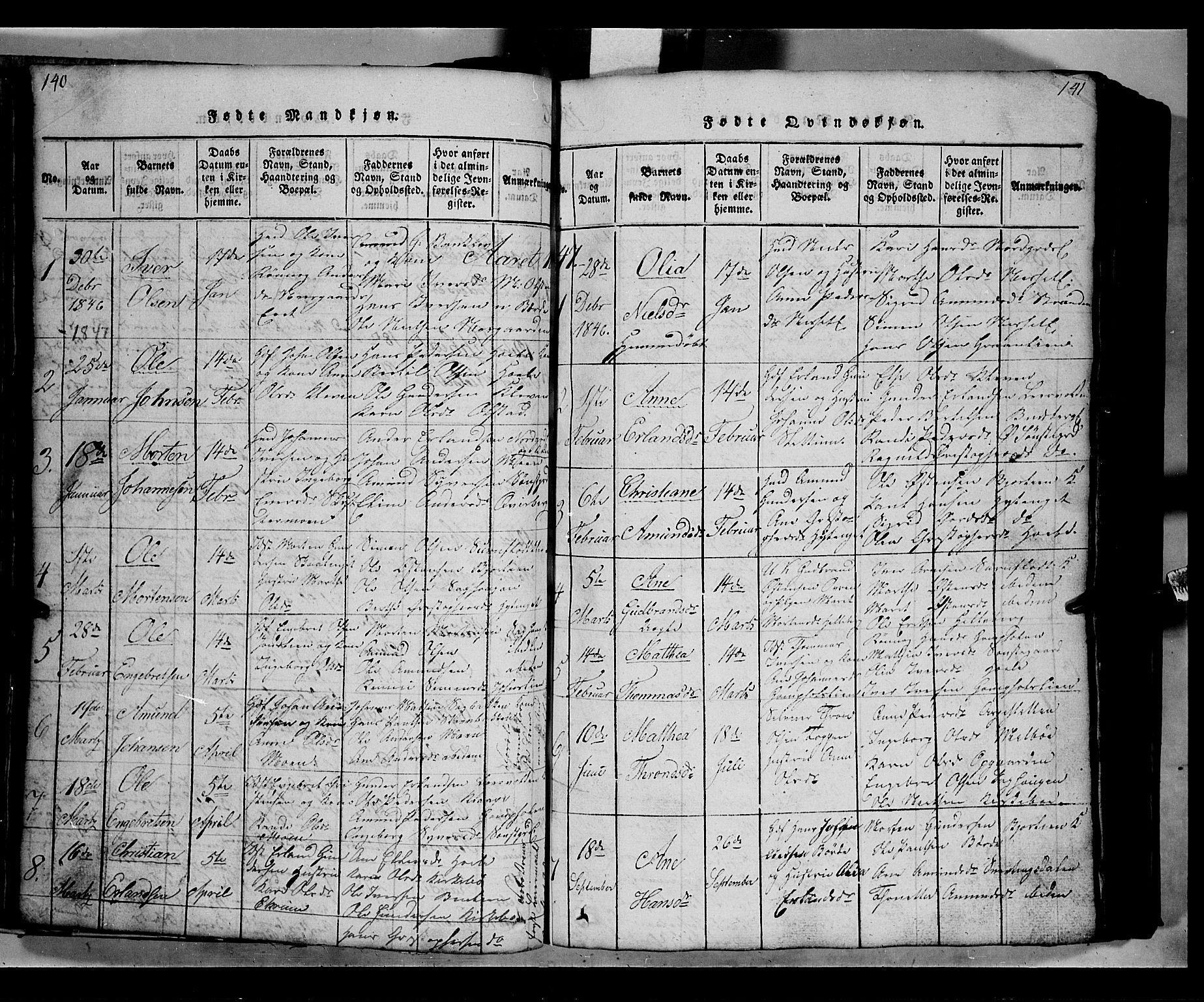 SAH, Gausdal prestekontor, Klokkerbok nr. 2, 1818-1874, s. 140-141