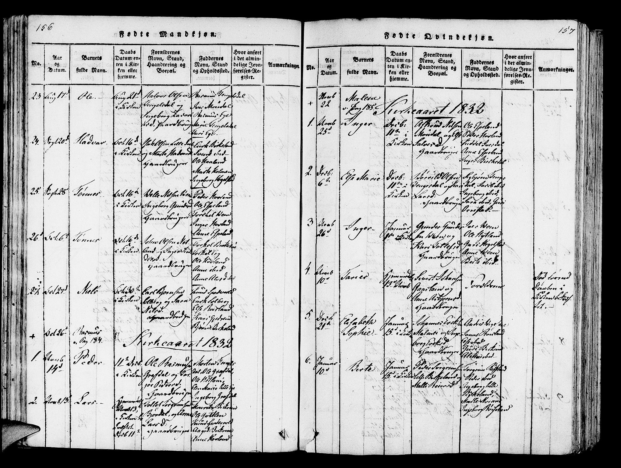 SAST, Helleland sokneprestkontor, Ministerialbok nr. A 5, 1815-1834, s. 156-157