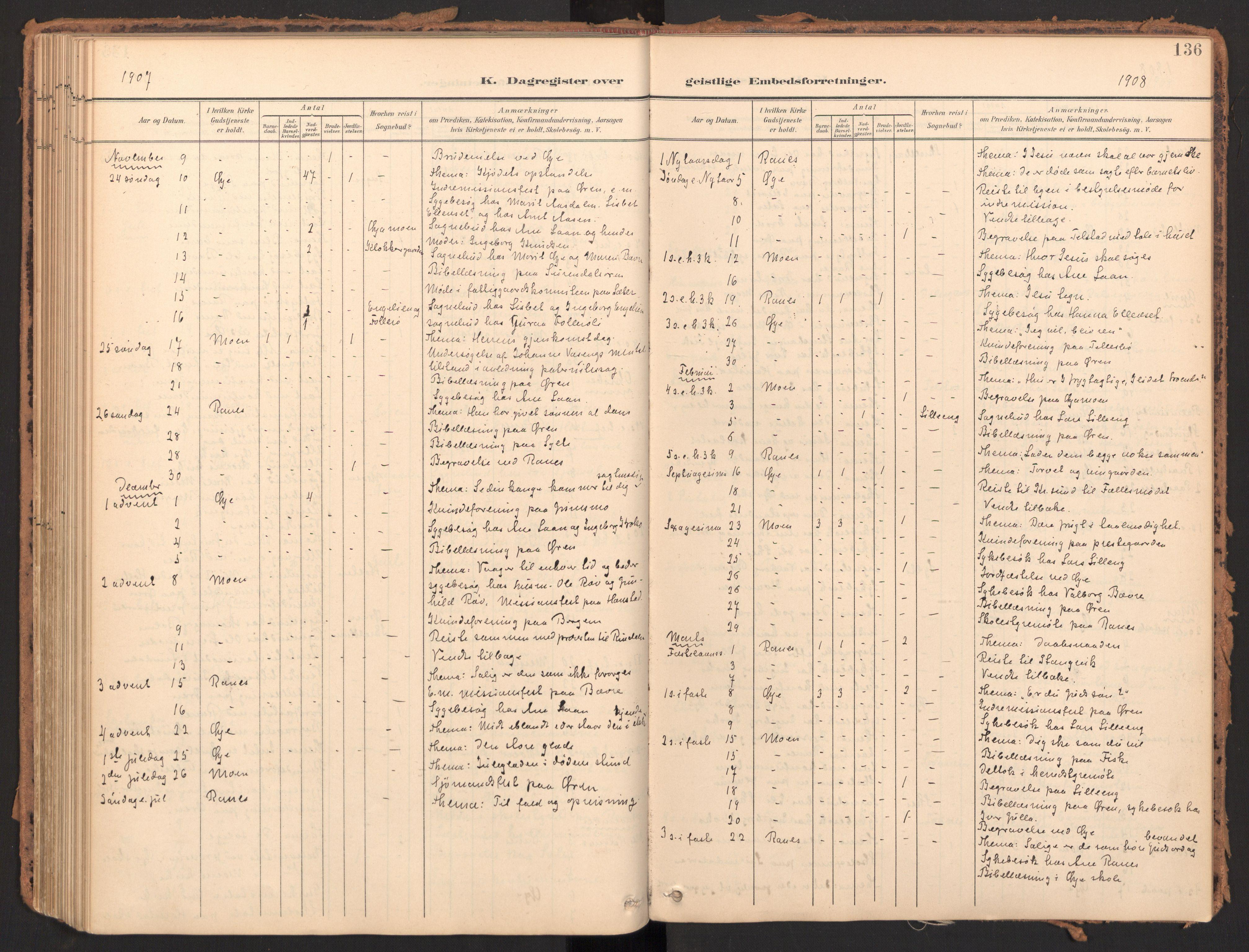 SAT, Ministerialprotokoller, klokkerbøker og fødselsregistre - Møre og Romsdal, 595/L1048: Ministerialbok nr. 595A10, 1900-1917, s. 136