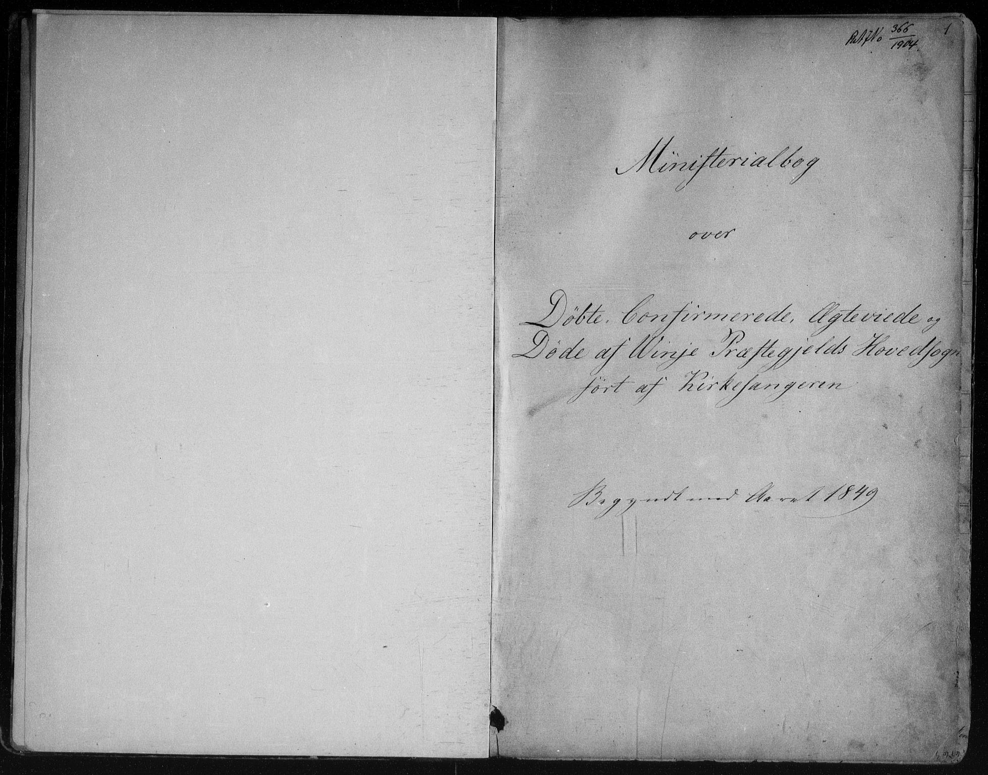 SAKO, Vinje kirkebøker, G/Ga/L0002: Klokkerbok nr. I 2, 1849-1893, s. 1