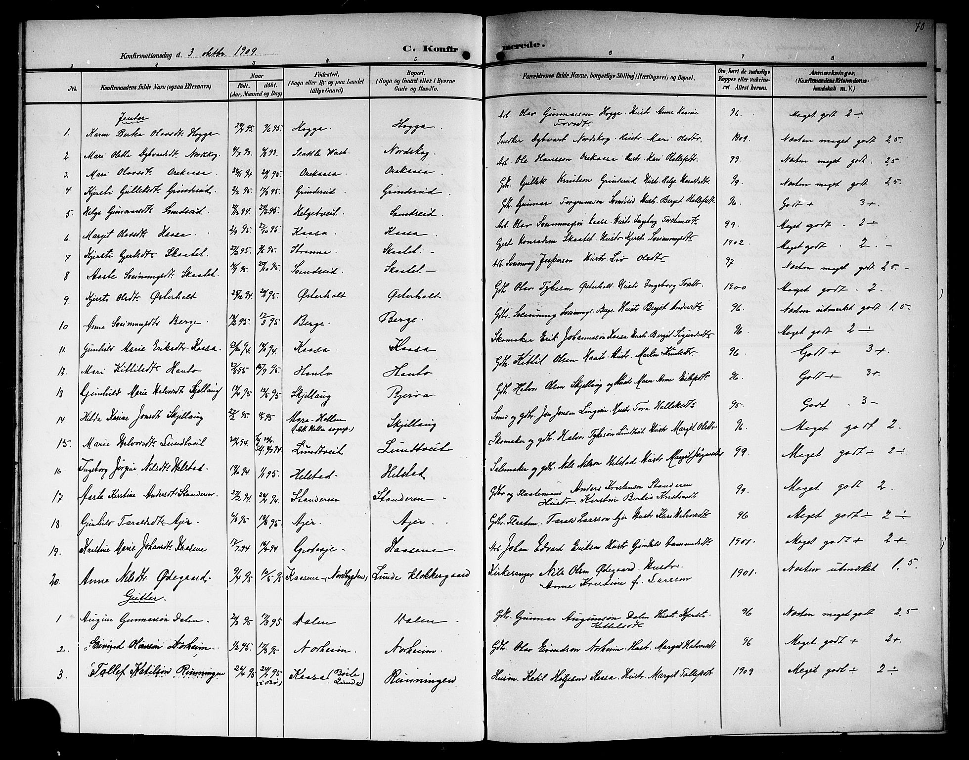 SAKO, Lunde kirkebøker, G/Ga/L0004: Klokkerbok nr. I 4, 1906-1914, s. 70