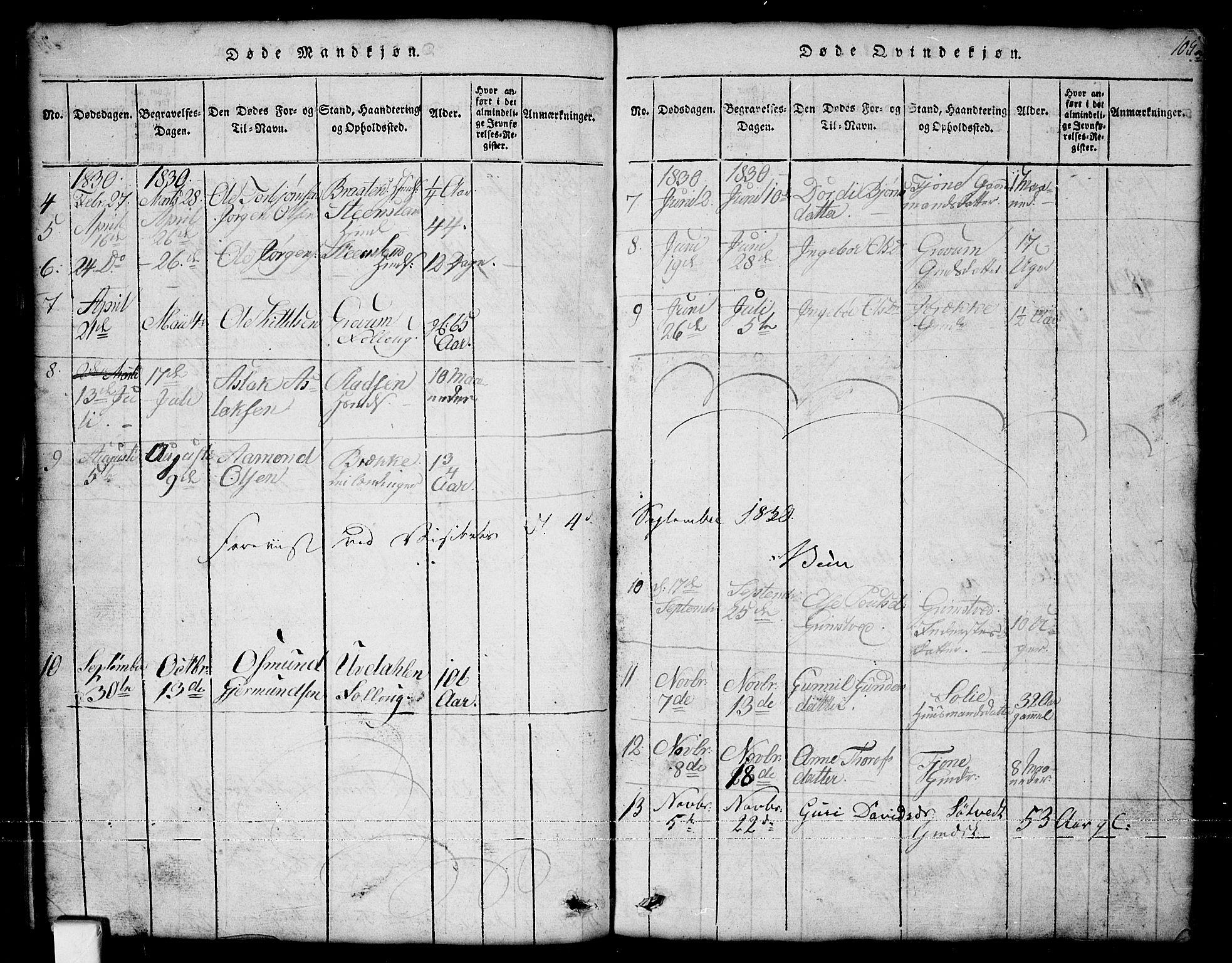 SAKO, Nissedal kirkebøker, G/Ga/L0001: Klokkerbok nr. I 1, 1814-1860, s. 105