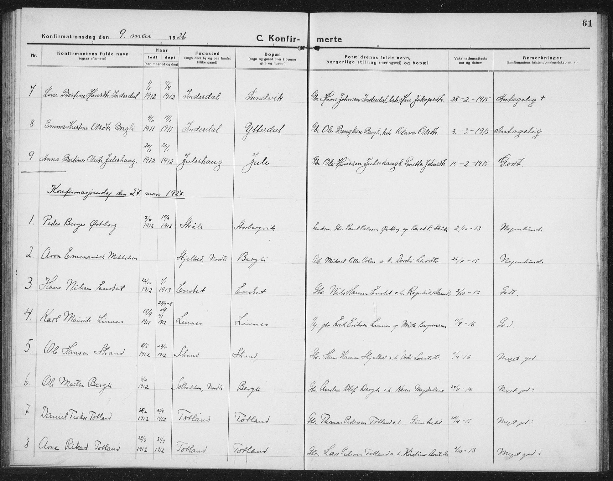 SAT, Ministerialprotokoller, klokkerbøker og fødselsregistre - Nord-Trøndelag, 757/L0507: Klokkerbok nr. 757C02, 1923-1939, s. 61