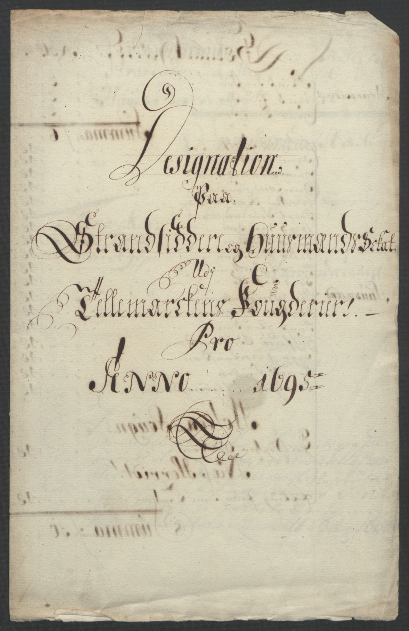 RA, Rentekammeret inntil 1814, Reviderte regnskaper, Fogderegnskap, R36/L2093: Fogderegnskap Øvre og Nedre Telemark og Bamble, 1695, s. 295