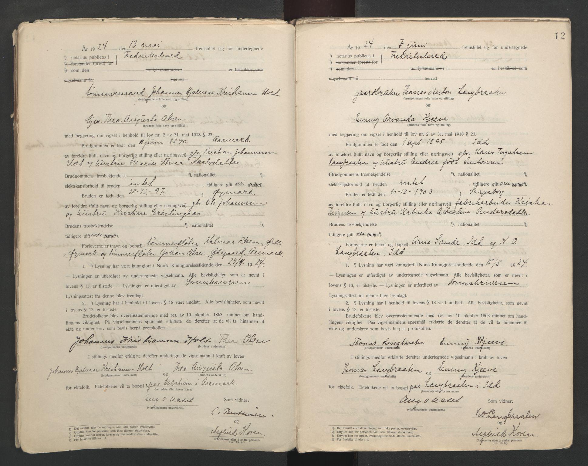 SAO, Idd og Marker sorenskriveri, L/Lc/L0001: Vigselsbøker, 1920-1942, s. 12