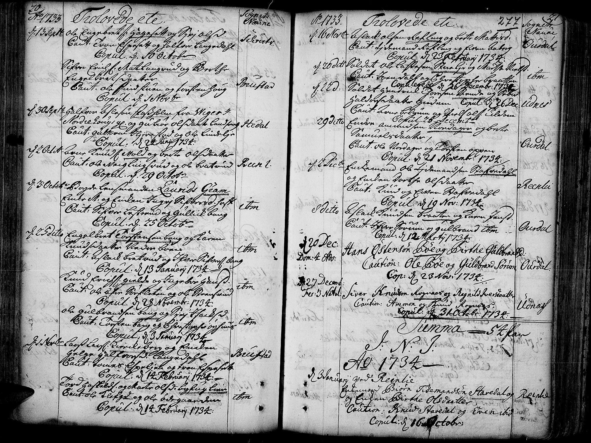 SAH, Aurdal prestekontor, Ministerialbok nr. 4, 1730-1762, s. 20-21
