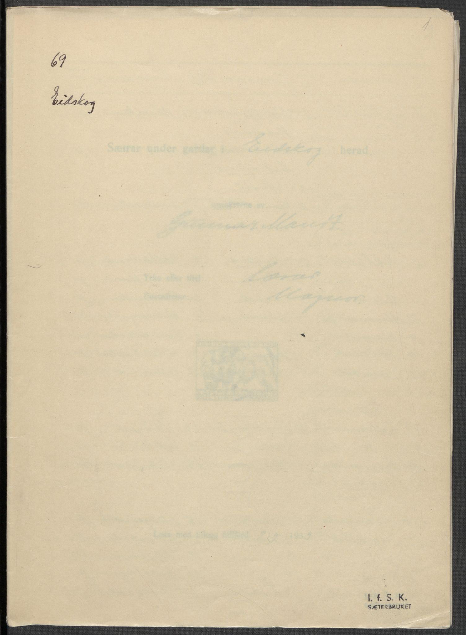 RA, Instituttet for sammenlignende kulturforskning, F/Fc/L0003: Eske B3:, 1934-1935, s. 1