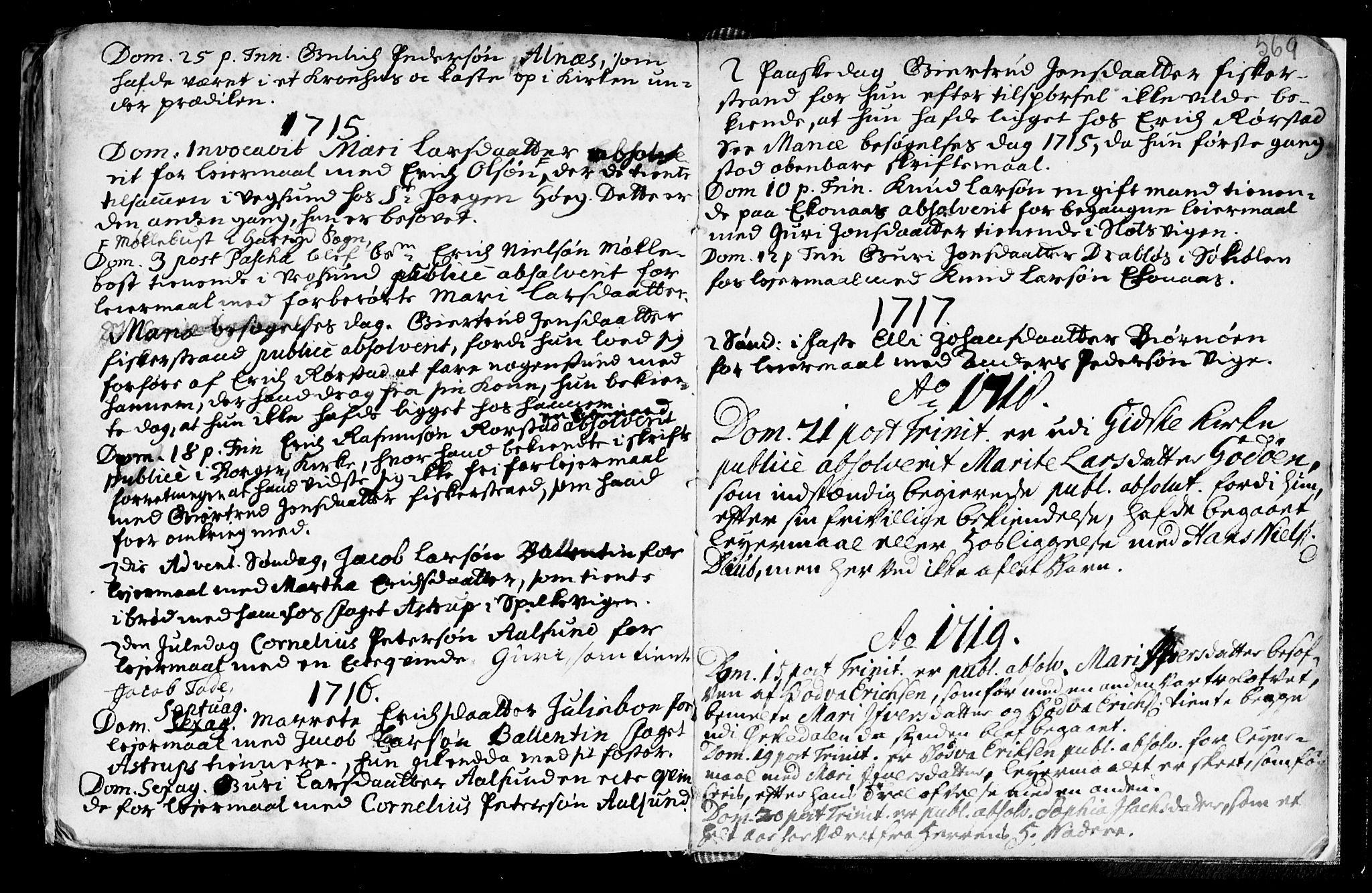 SAT, Ministerialprotokoller, klokkerbøker og fødselsregistre - Møre og Romsdal, 528/L0390: Ministerialbok nr. 528A01, 1698-1739, s. 568-569