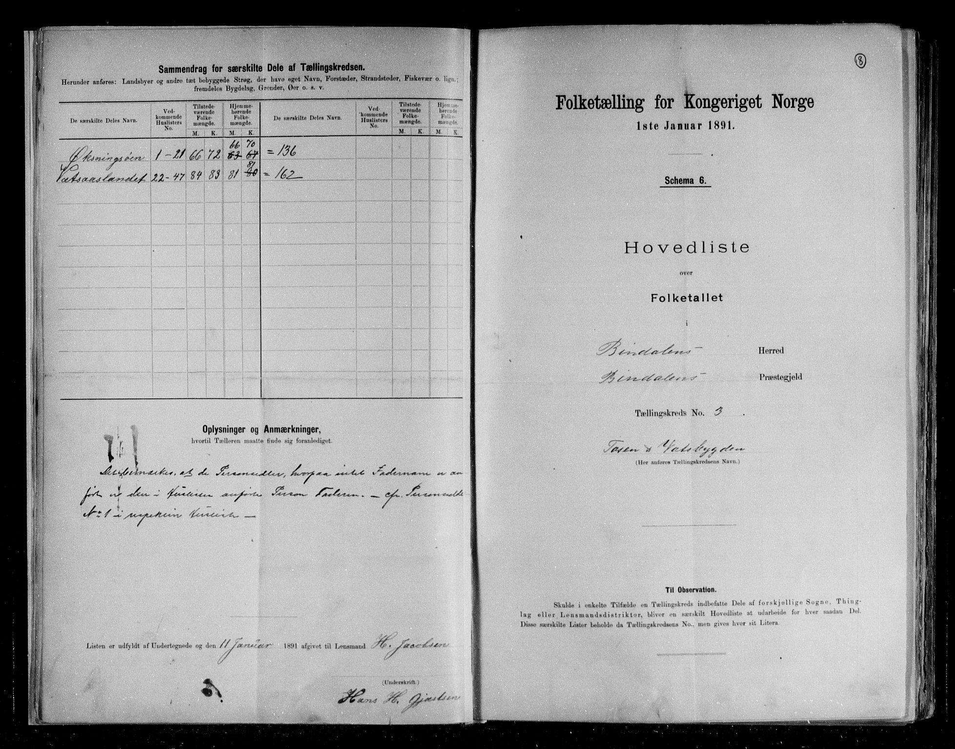 RA, Folketelling 1891 for 1811 Bindal herred, 1891, s. 8