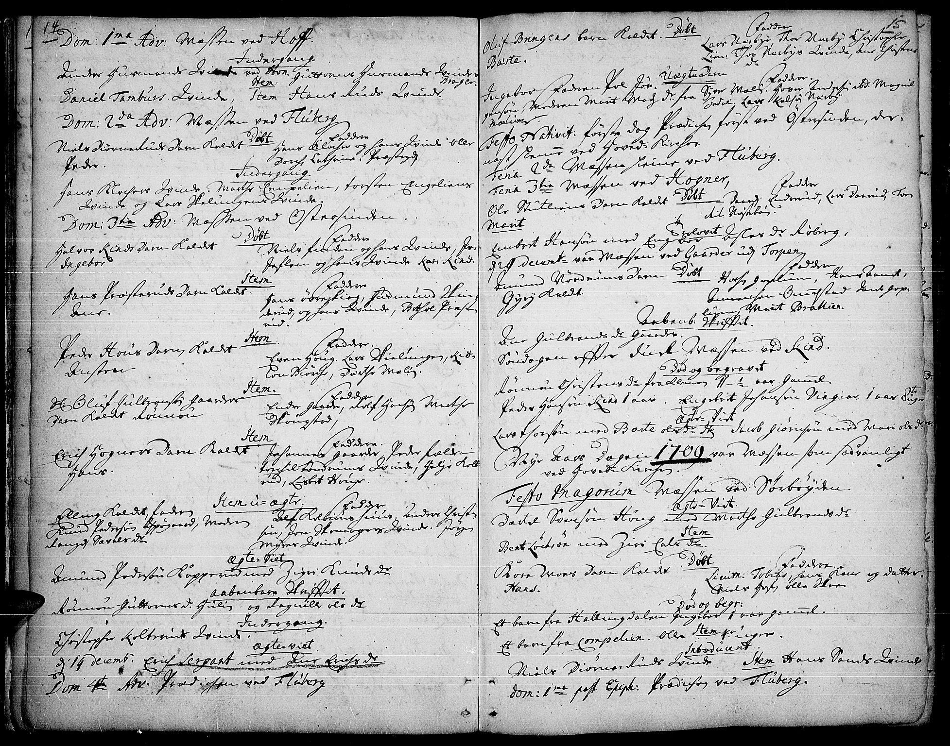 SAH, Land prestekontor, Ministerialbok nr. 1, 1708-1732, s. 14-15