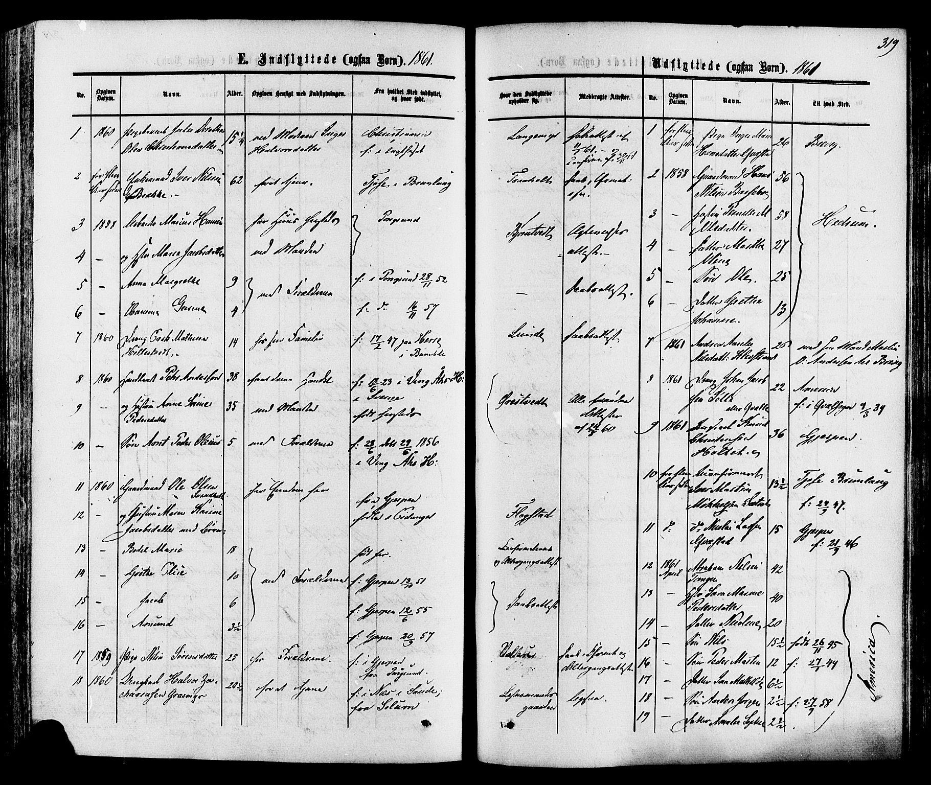 SAKO, Eidanger kirkebøker, F/Fa/L0010: Ministerialbok nr. 10, 1859-1874, s. 319