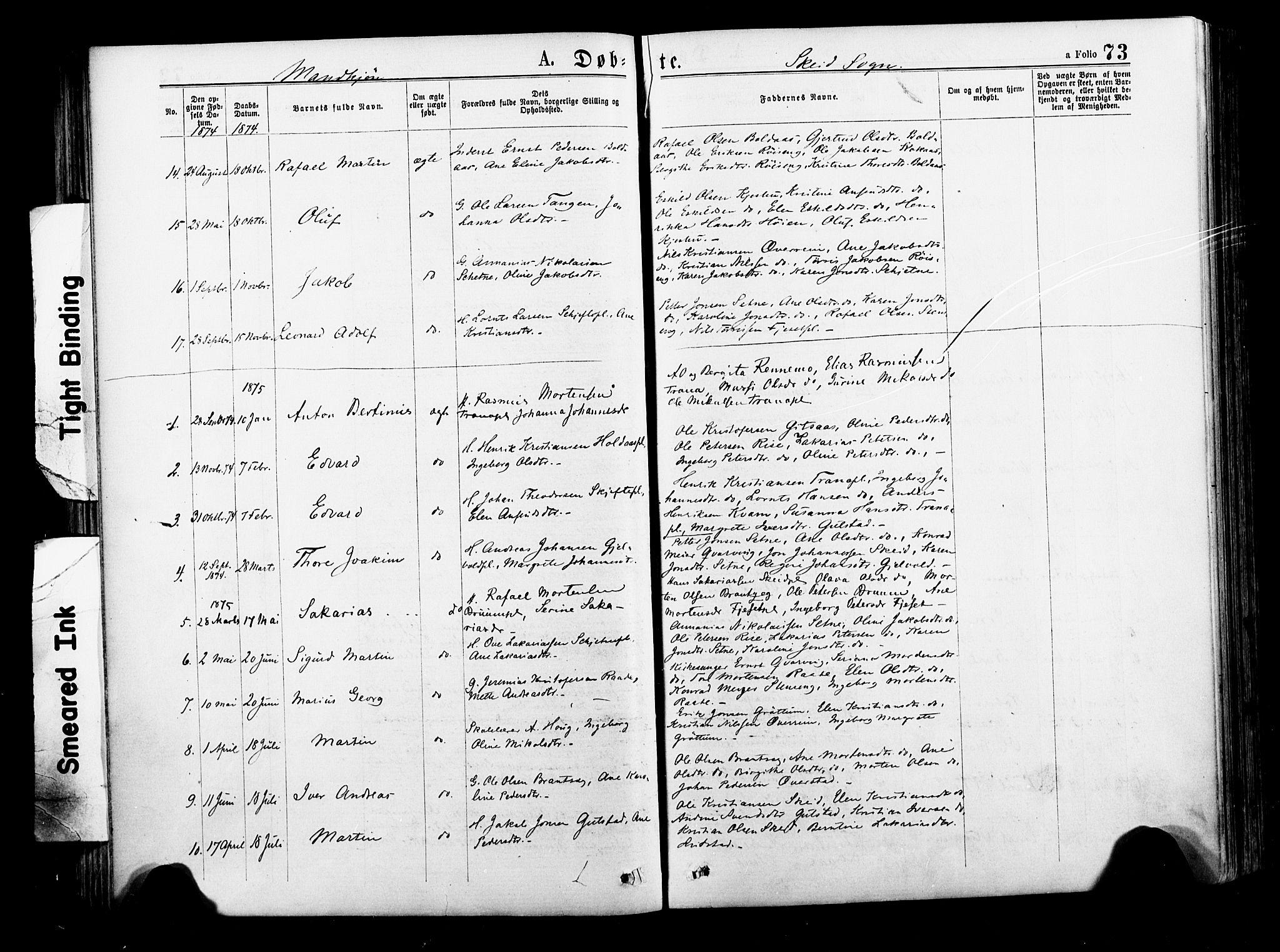 SAT, Ministerialprotokoller, klokkerbøker og fødselsregistre - Nord-Trøndelag, 735/L0348: Ministerialbok nr. 735A09 /2, 1873-1883, s. 73