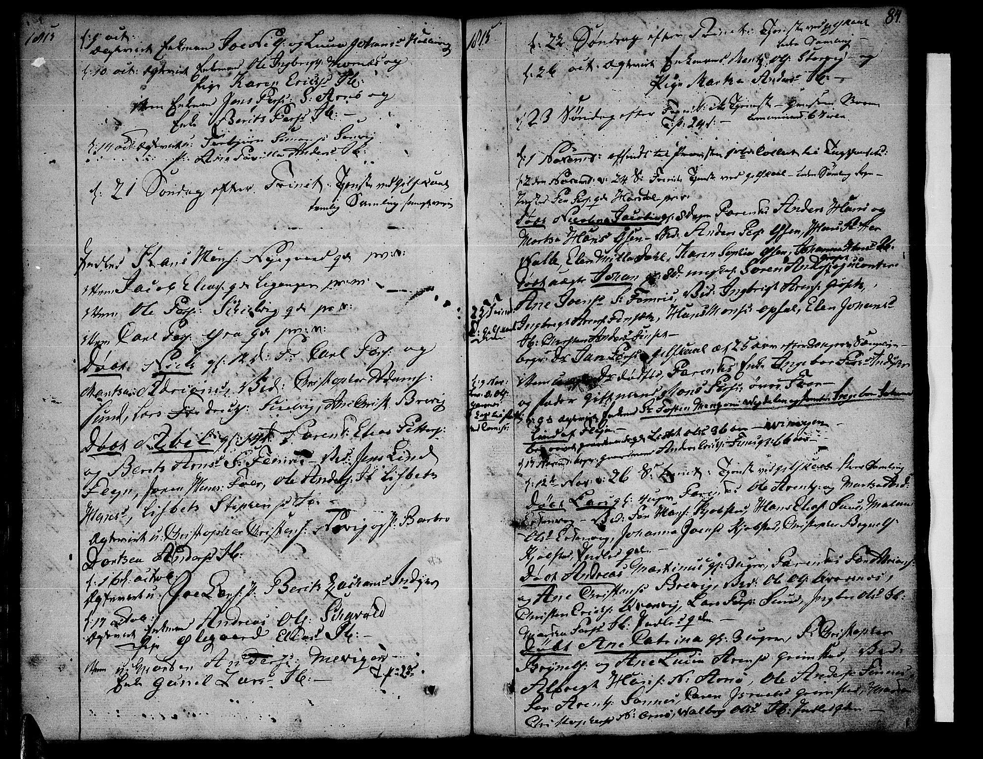 SAT, Ministerialprotokoller, klokkerbøker og fødselsregistre - Nordland, 805/L0095: Ministerialbok nr. 805A02, 1805-1826, s. 84