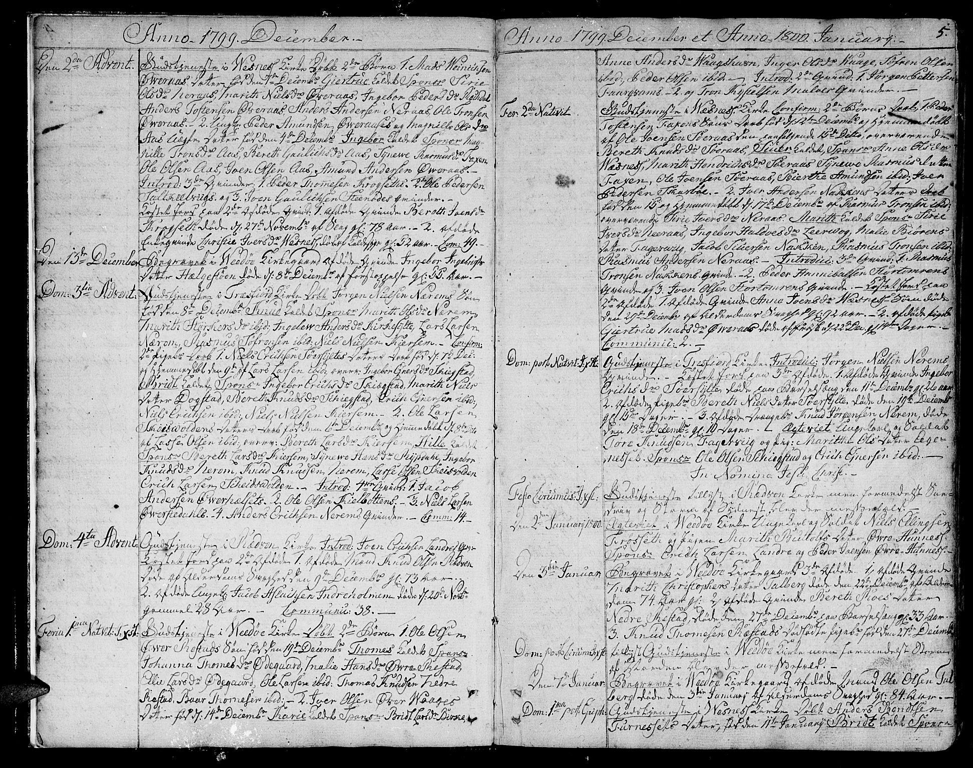 SAT, Ministerialprotokoller, klokkerbøker og fødselsregistre - Møre og Romsdal, 547/L0601: Ministerialbok nr. 547A03, 1799-1818, s. 5