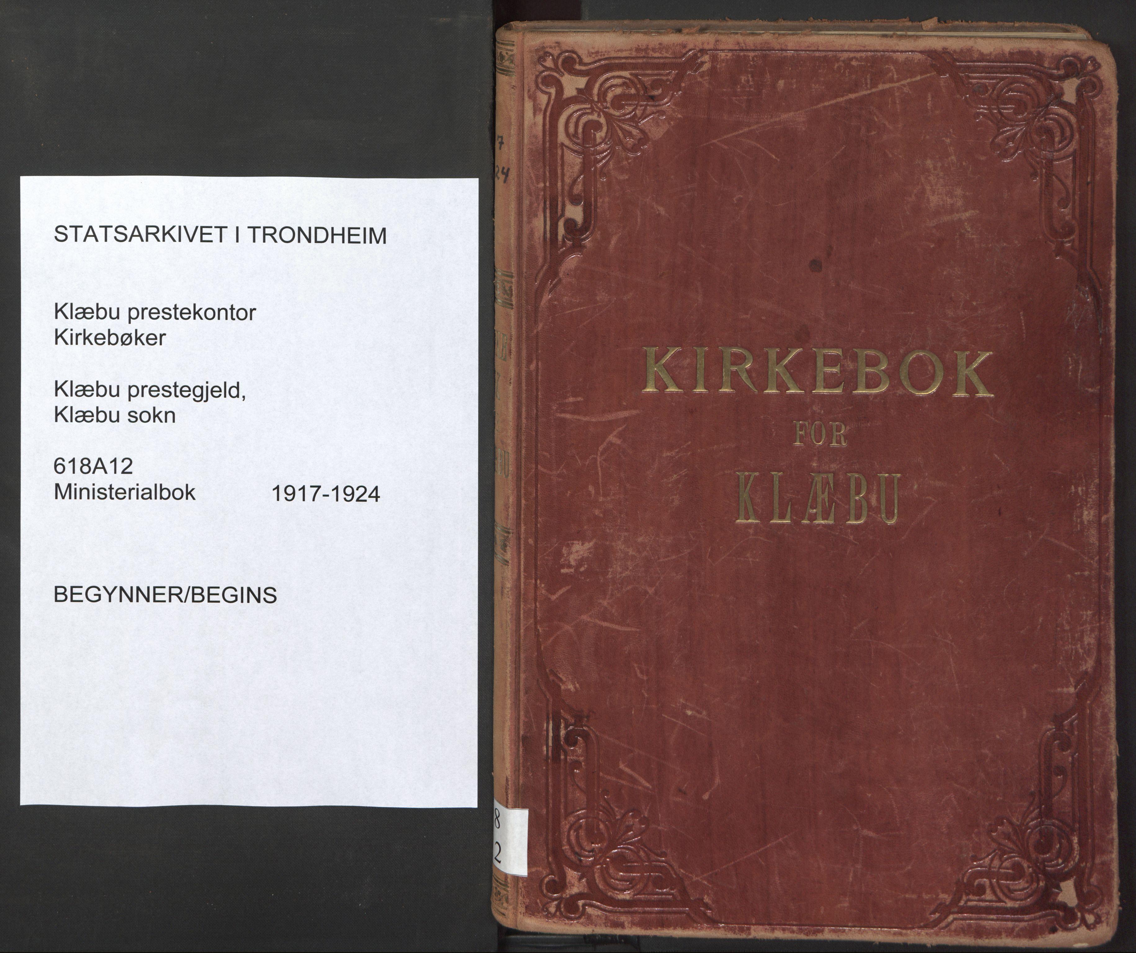 SAT, Ministerialprotokoller, klokkerbøker og fødselsregistre - Sør-Trøndelag, 618/L0449: Ministerialbok nr. 618A12, 1917-1924