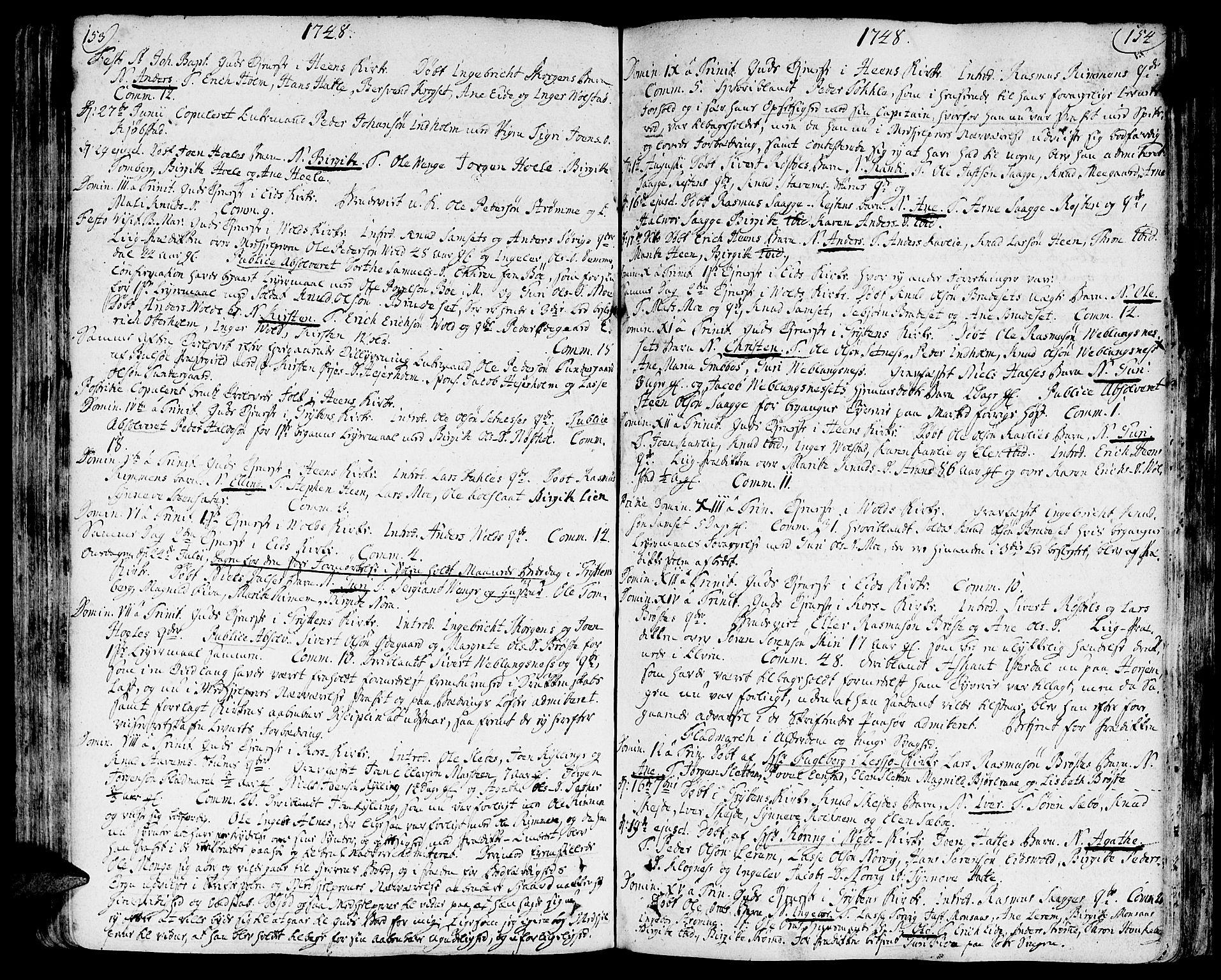 SAT, Ministerialprotokoller, klokkerbøker og fødselsregistre - Møre og Romsdal, 544/L0568: Ministerialbok nr. 544A01, 1725-1763, s. 153-154