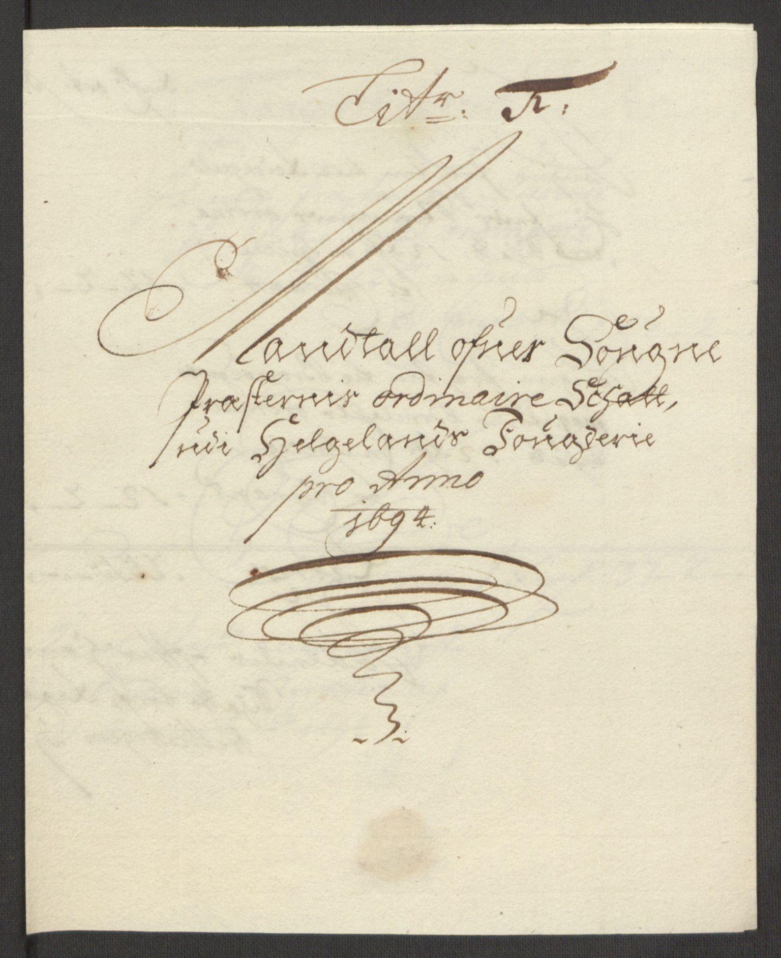 RA, Rentekammeret inntil 1814, Reviderte regnskaper, Fogderegnskap, R65/L4505: Fogderegnskap Helgeland, 1693-1696, s. 262