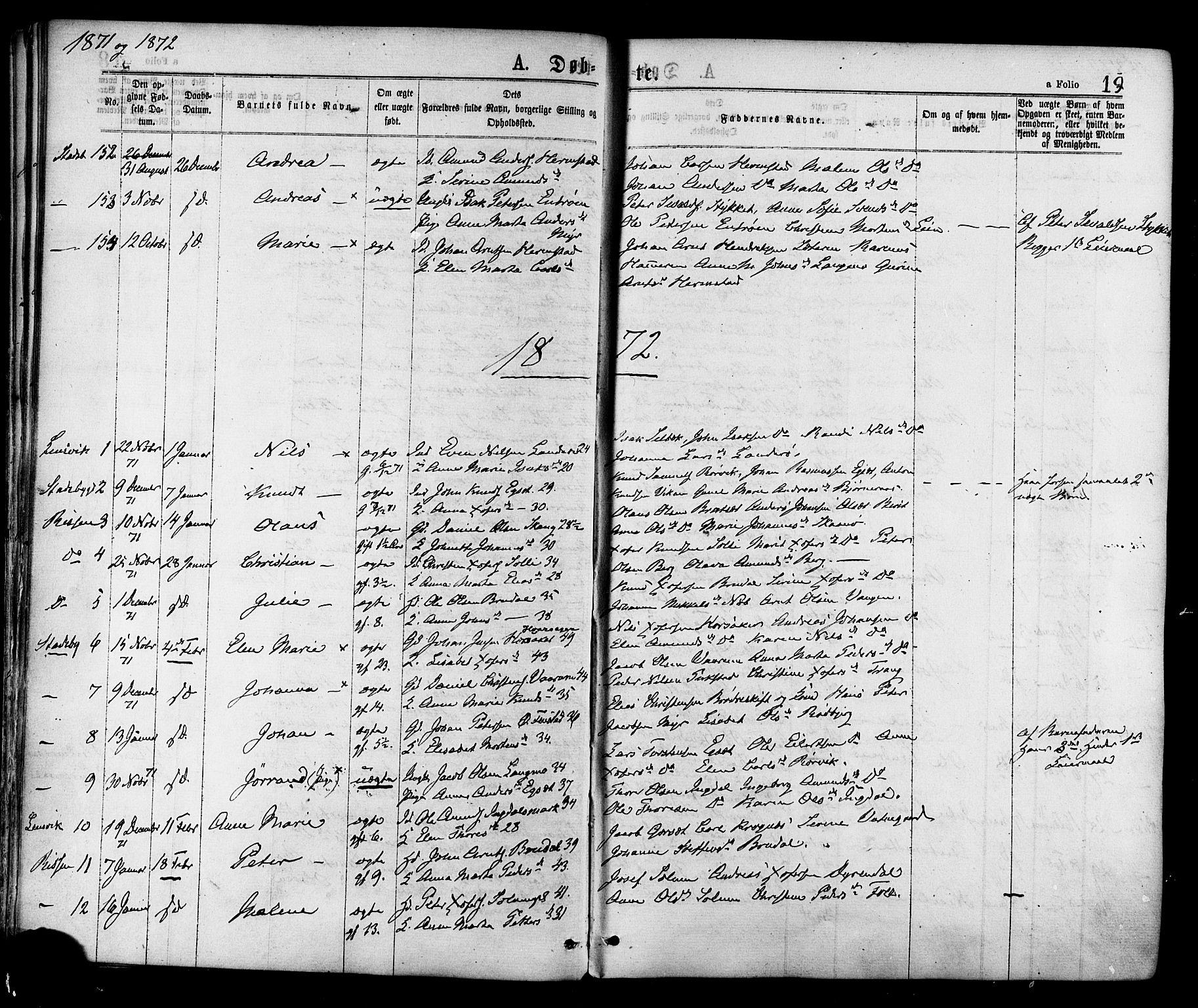 SAT, Ministerialprotokoller, klokkerbøker og fødselsregistre - Sør-Trøndelag, 646/L0613: Ministerialbok nr. 646A11, 1870-1884, s. 19
