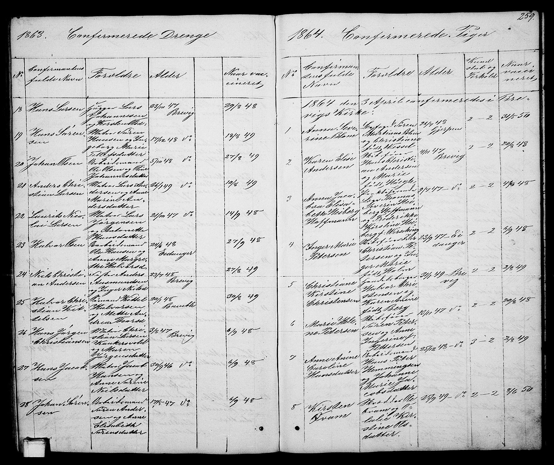 SAKO, Brevik kirkebøker, G/Ga/L0002: Klokkerbok nr. 2, 1846-1865, s. 259