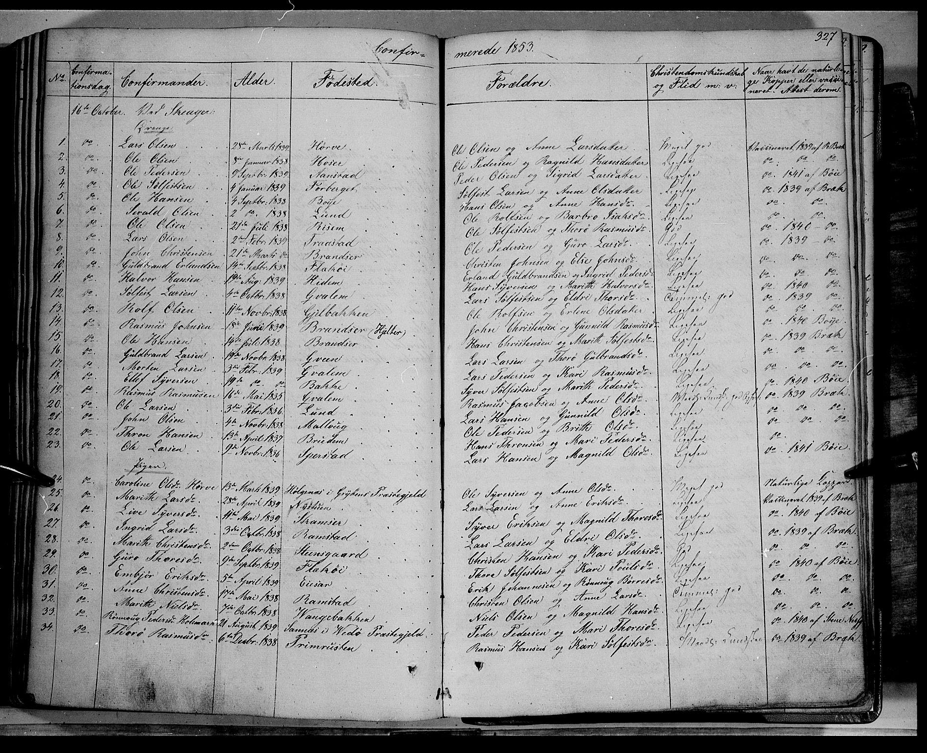 SAH, Lom prestekontor, K/L0006: Ministerialbok nr. 6A, 1837-1863, s. 327