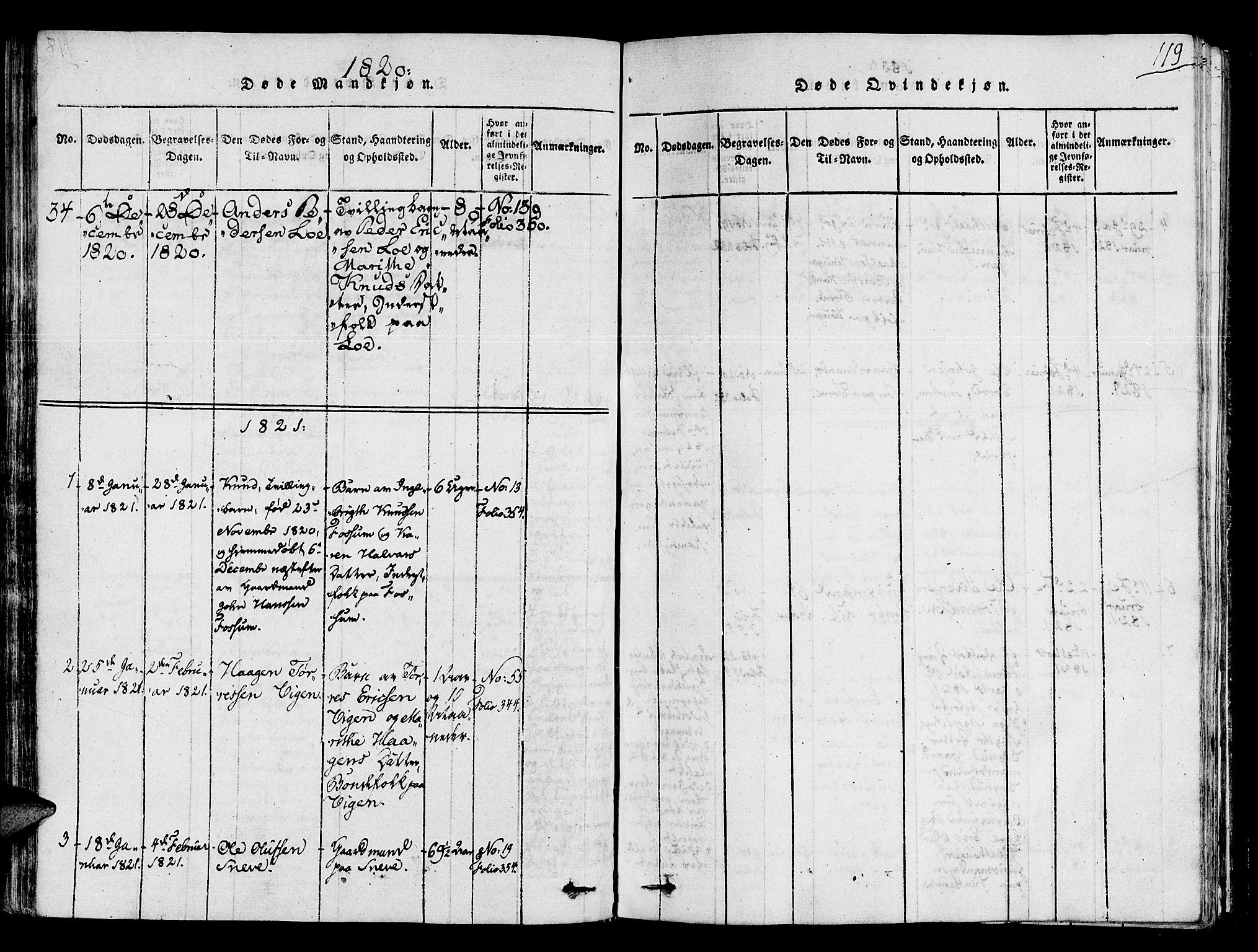 SAT, Ministerialprotokoller, klokkerbøker og fødselsregistre - Sør-Trøndelag, 678/L0895: Ministerialbok nr. 678A05 /1, 1816-1821, s. 119