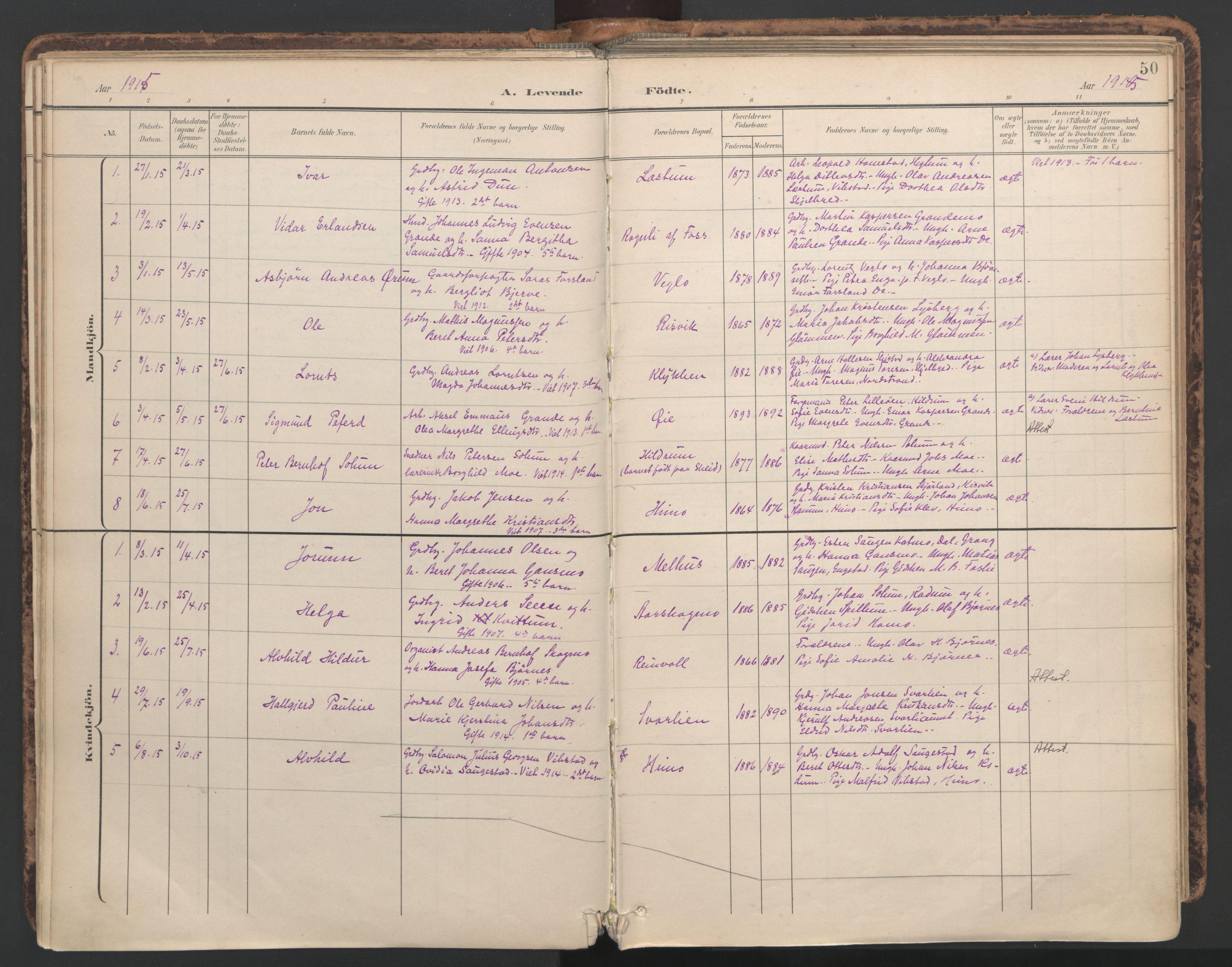 SAT, Ministerialprotokoller, klokkerbøker og fødselsregistre - Nord-Trøndelag, 764/L0556: Ministerialbok nr. 764A11, 1897-1924, s. 50
