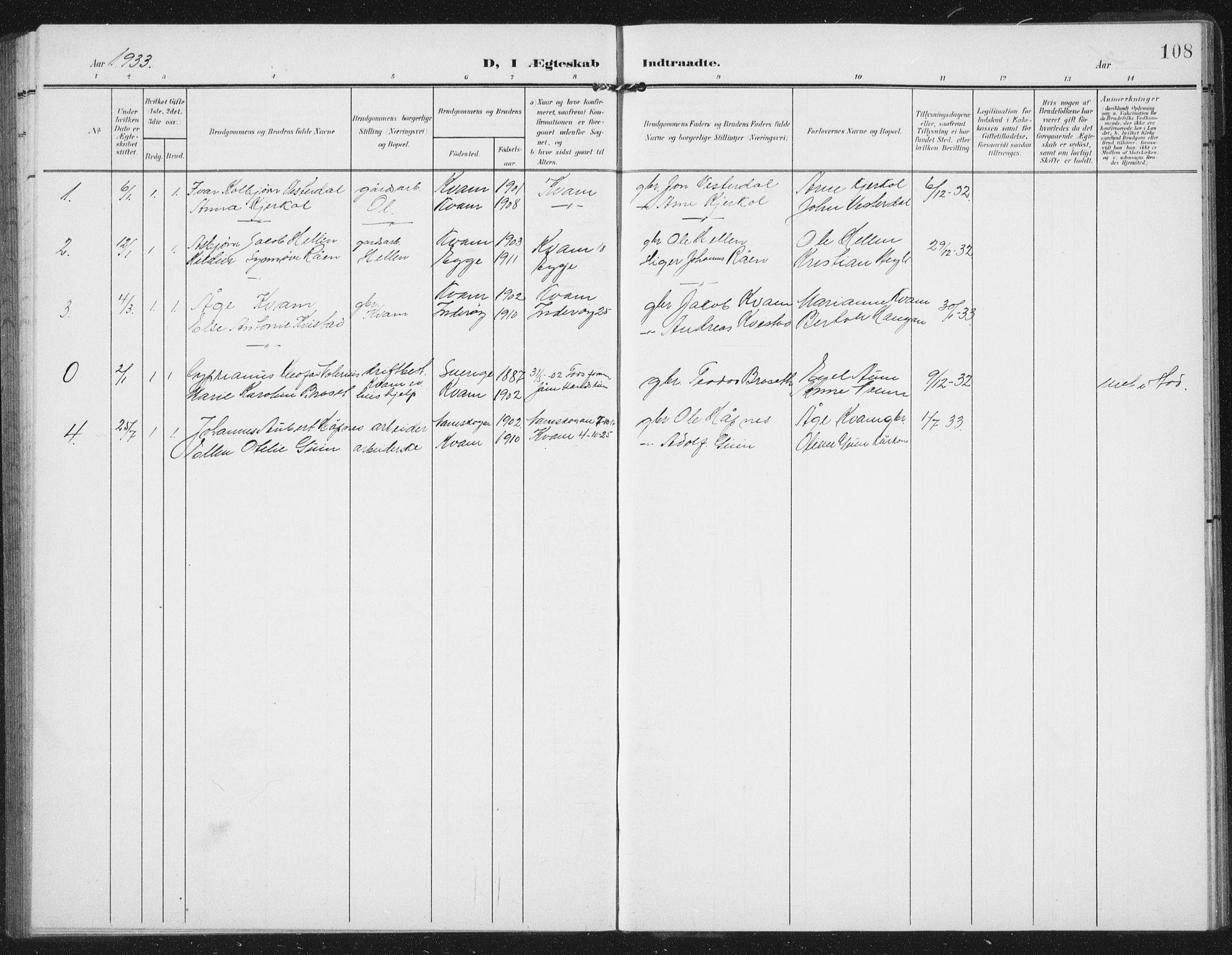 SAT, Ministerialprotokoller, klokkerbøker og fødselsregistre - Nord-Trøndelag, 747/L0460: Klokkerbok nr. 747C02, 1908-1939, s. 108