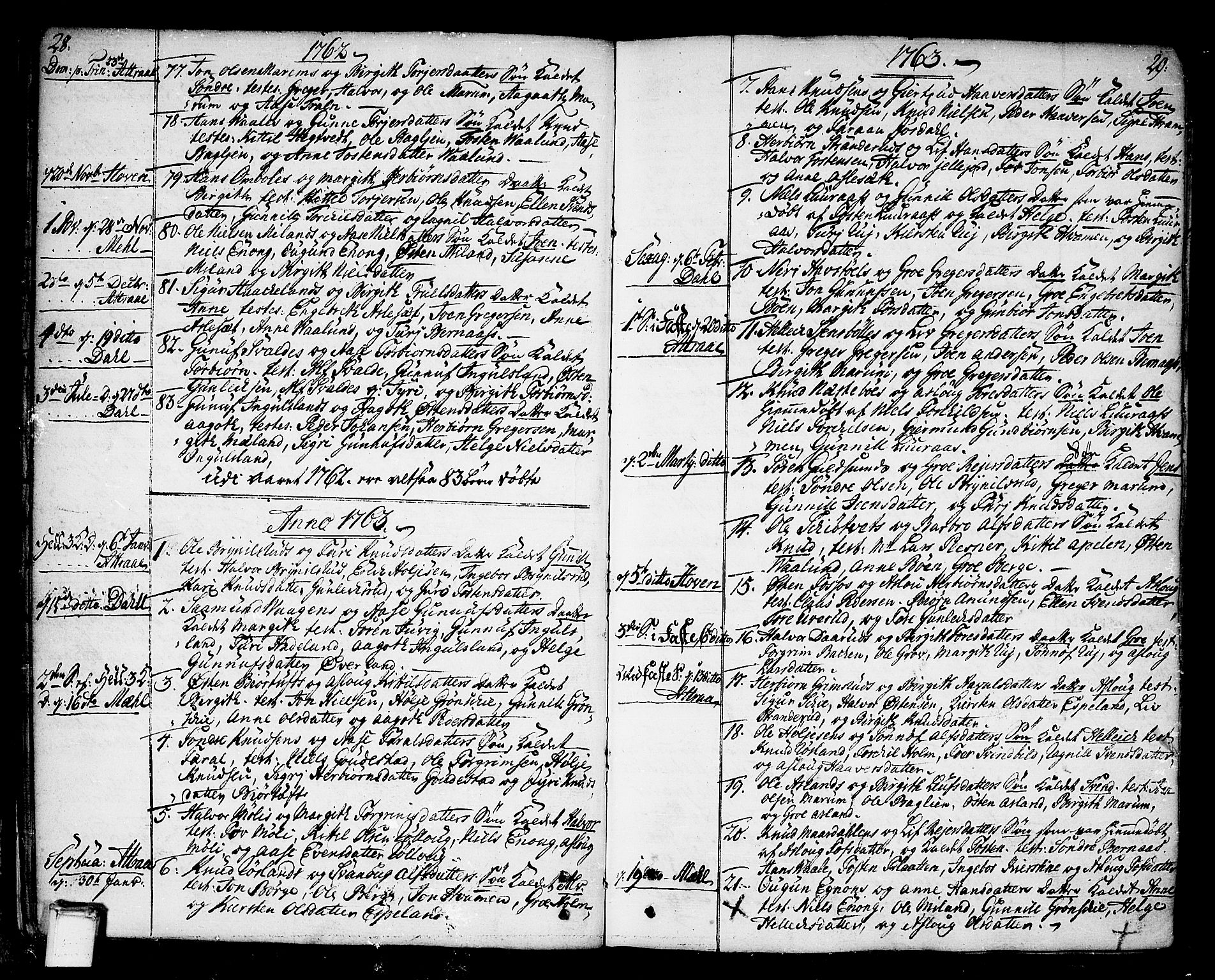 SAKO, Tinn kirkebøker, F/Fa/L0002: Ministerialbok nr. I 2, 1757-1810, s. 28-29