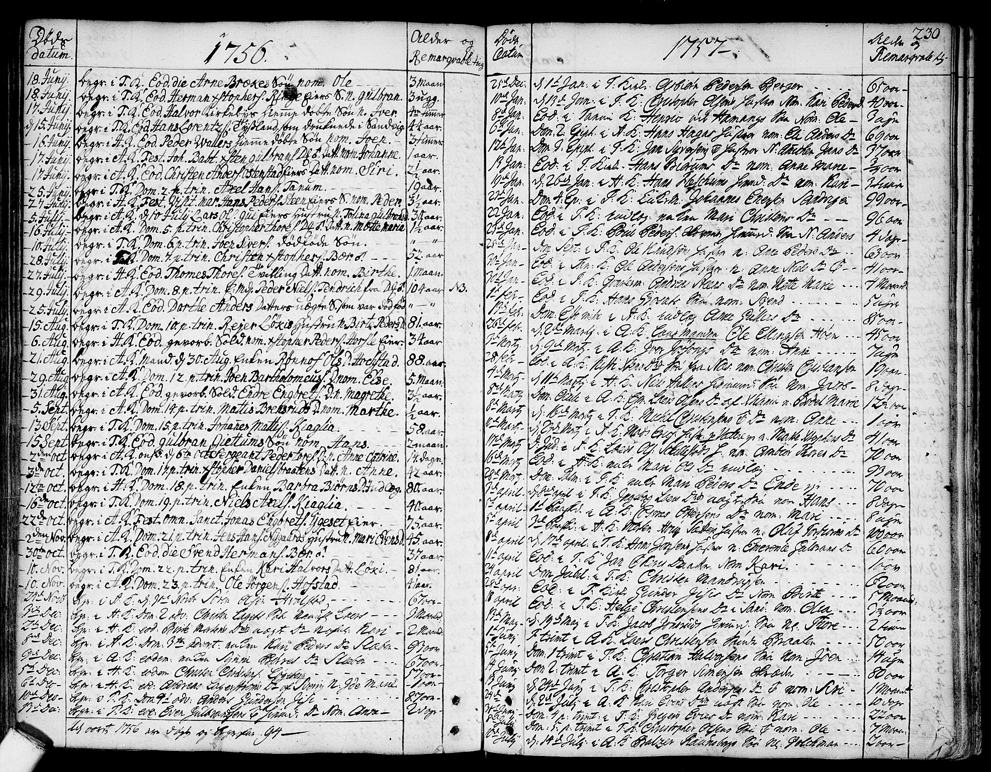 SAO, Asker prestekontor Kirkebøker, F/Fa/L0002: Ministerialbok nr. I 2, 1733-1766, s. 230