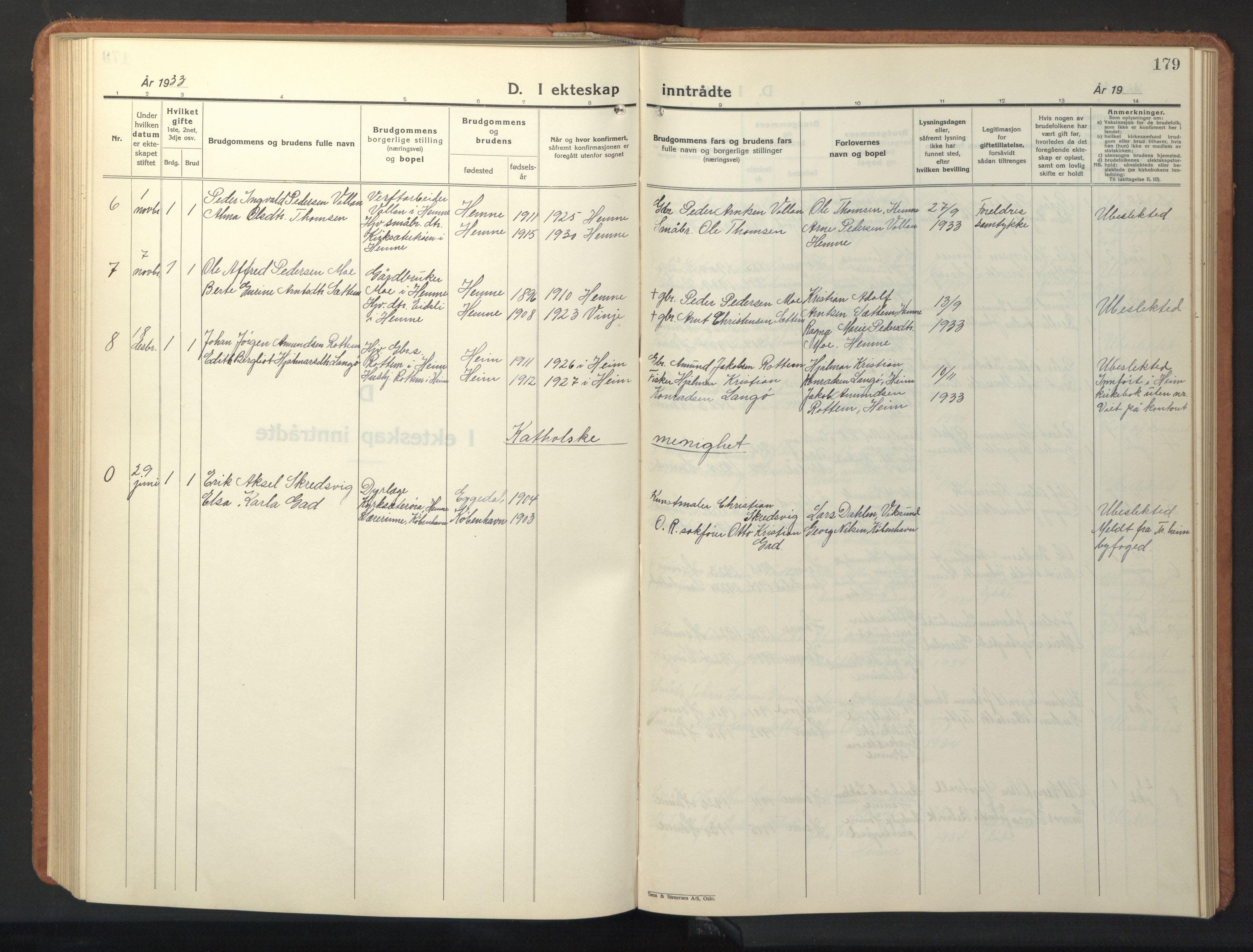 SAT, Ministerialprotokoller, klokkerbøker og fødselsregistre - Sør-Trøndelag, 630/L0508: Klokkerbok nr. 630C06, 1933-1950, s. 179