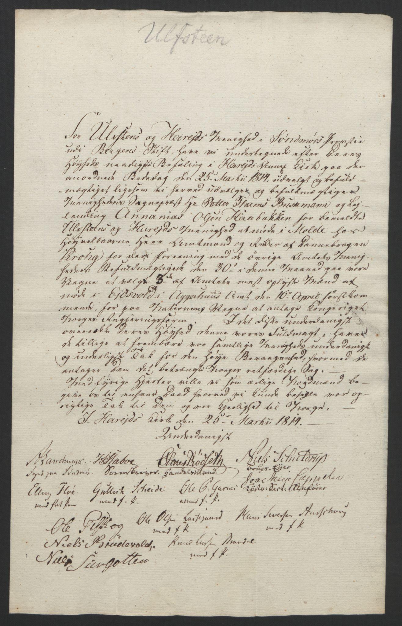 RA, Statsrådssekretariatet, D/Db/L0008: Fullmakter for Eidsvollsrepresentantene i 1814. , 1814, s. 409