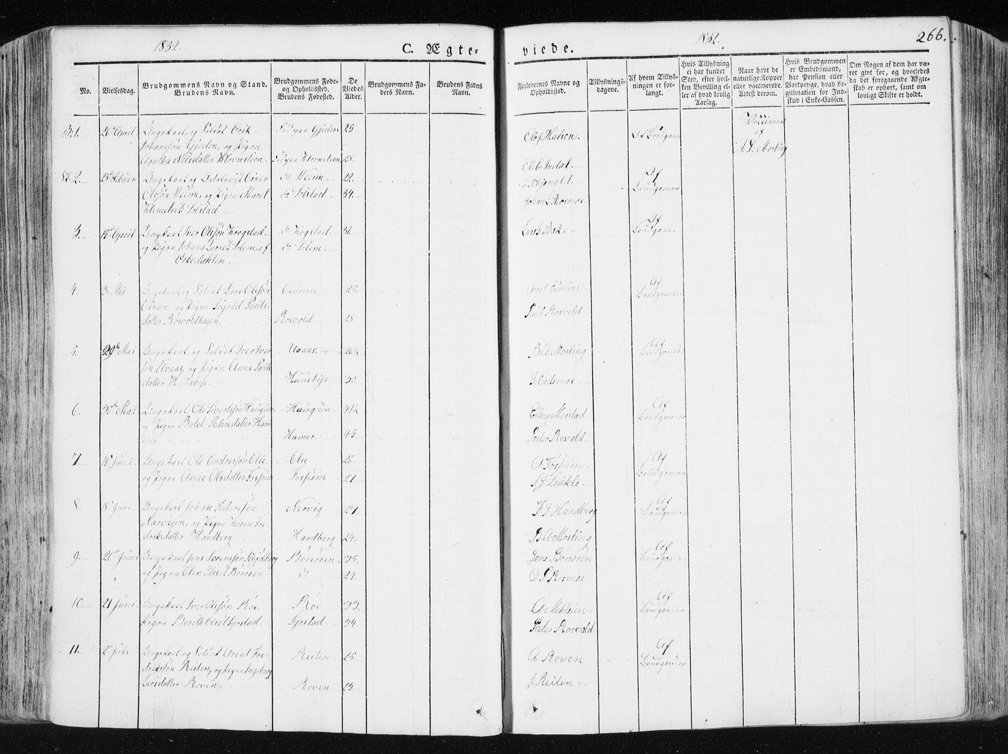 SAT, Ministerialprotokoller, klokkerbøker og fødselsregistre - Sør-Trøndelag, 665/L0771: Ministerialbok nr. 665A06, 1830-1856, s. 266