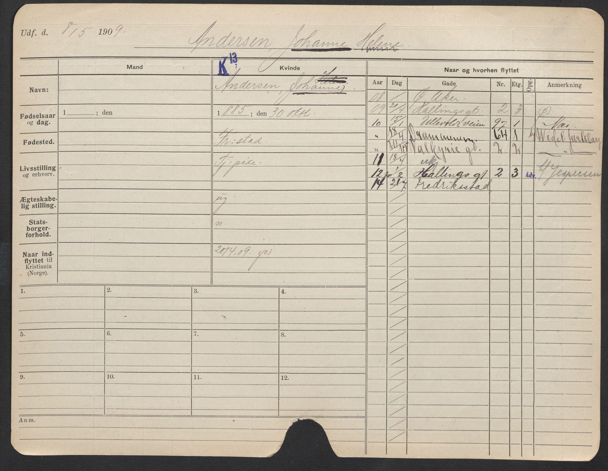 SAO, Oslo folkeregister, Registerkort, F/Fa/Fac/L0012: Kvinner, 1906-1914, s. 501a