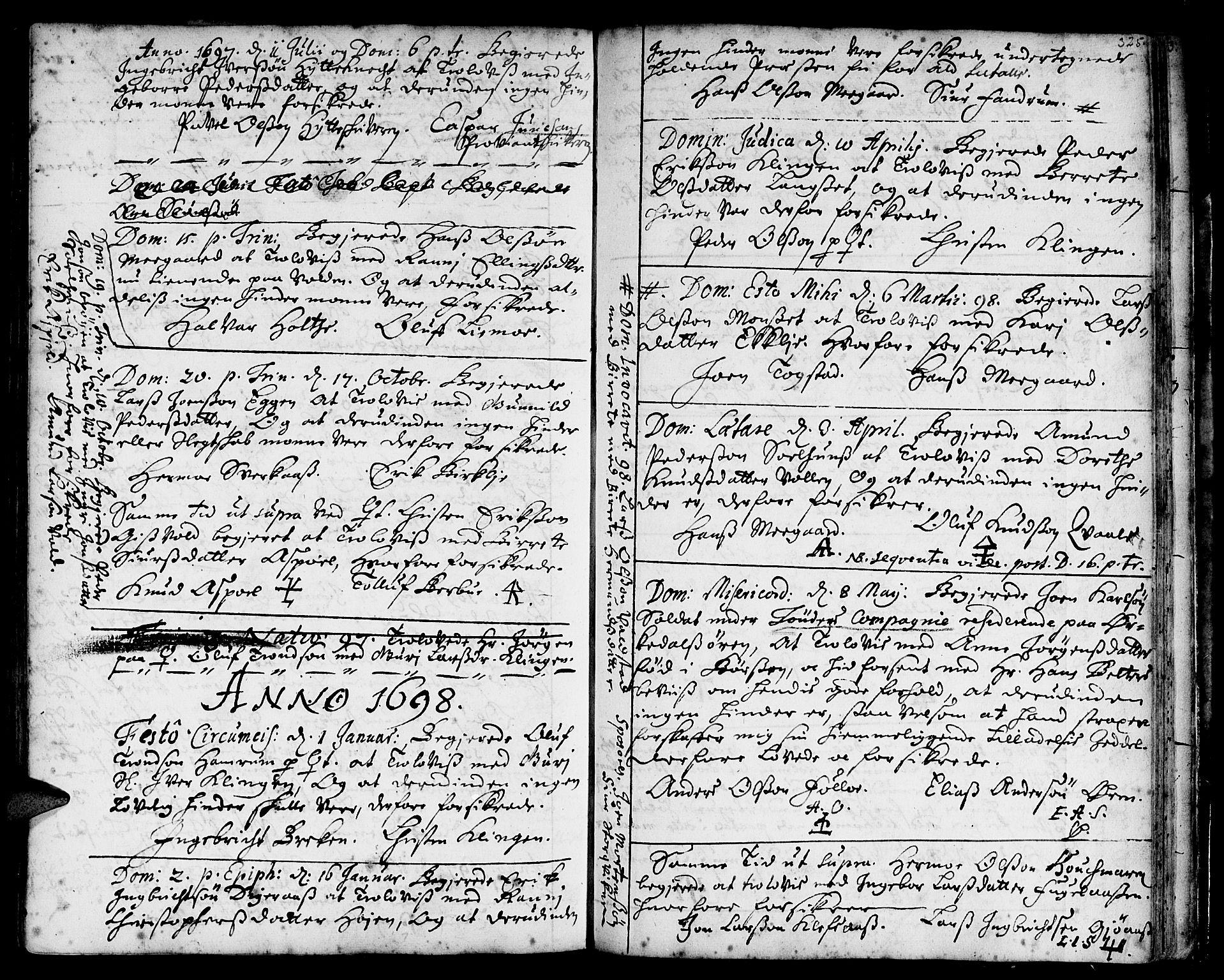 SAT, Ministerialprotokoller, klokkerbøker og fødselsregistre - Sør-Trøndelag, 668/L0801: Ministerialbok nr. 668A01, 1695-1716, s. 324-325