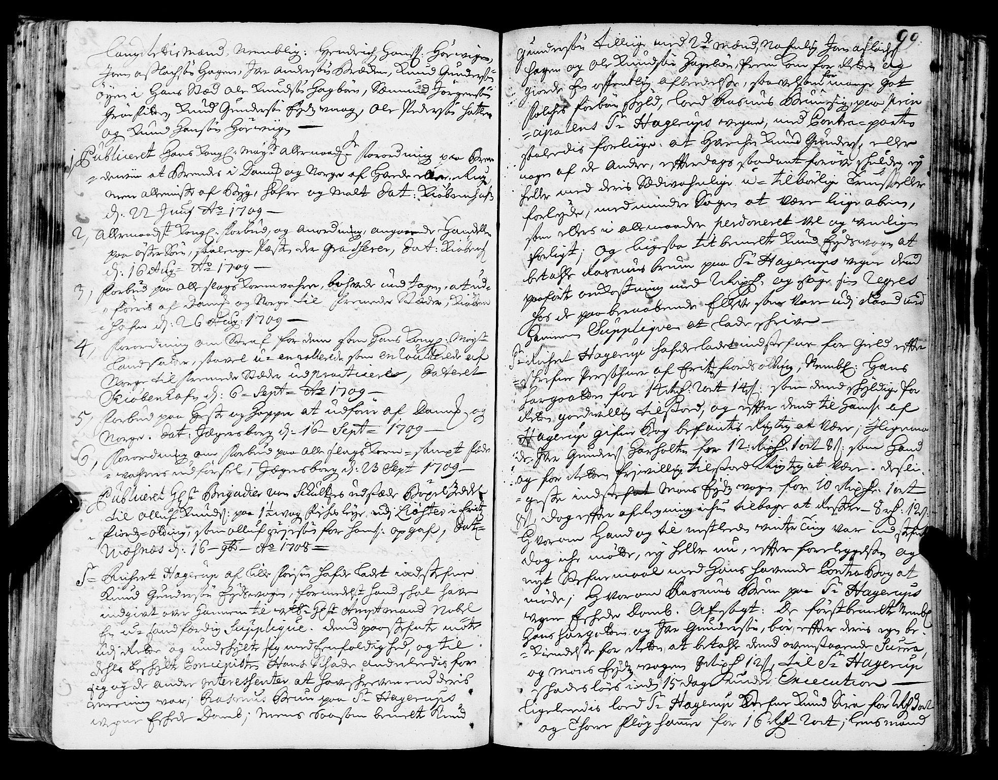 SAT, Romsdal sorenskriveri, 1/1A/L0006: Tingbok, 1707-1711, s. 98b-99a