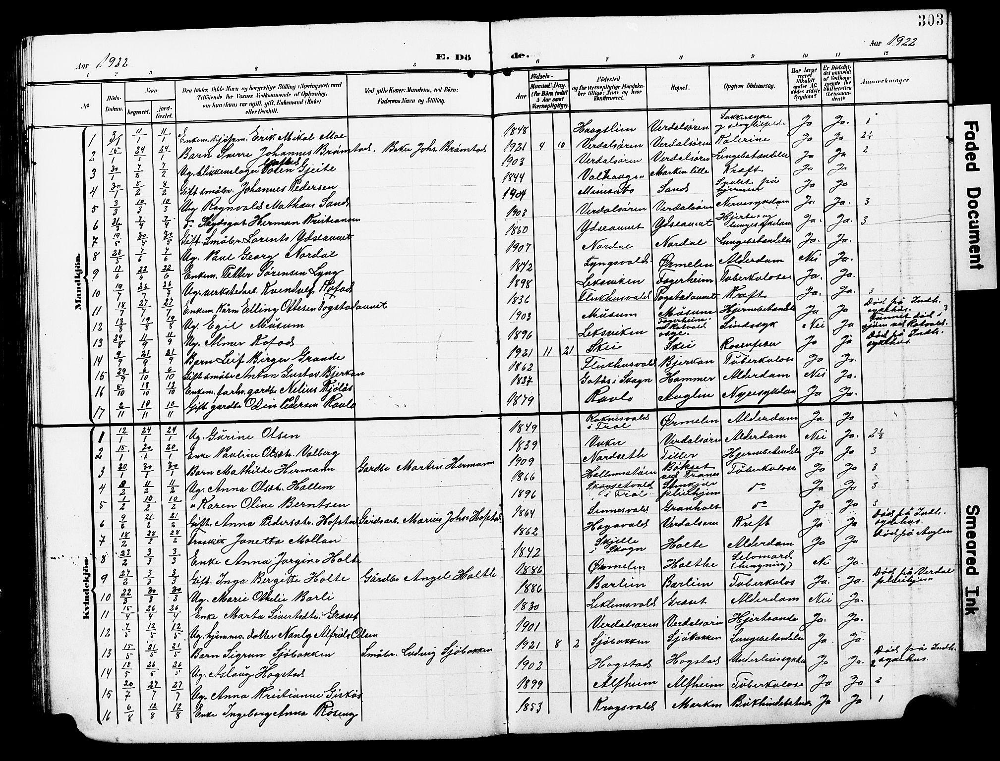 SAT, Ministerialprotokoller, klokkerbøker og fødselsregistre - Nord-Trøndelag, 723/L0258: Klokkerbok nr. 723C06, 1908-1927, s. 303