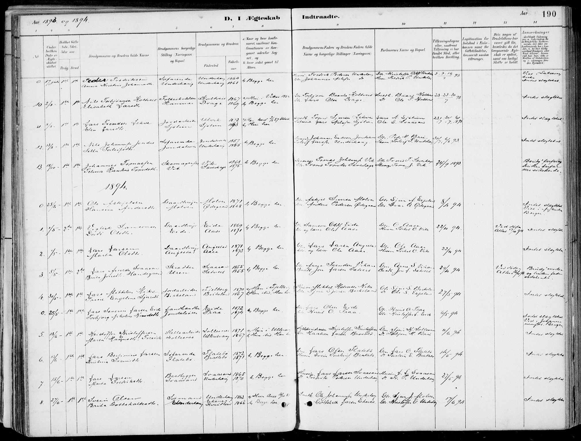 SAB, Strandebarm Sokneprestembete, H/Haa: Ministerialbok nr. E  1, 1886-1908, s. 190