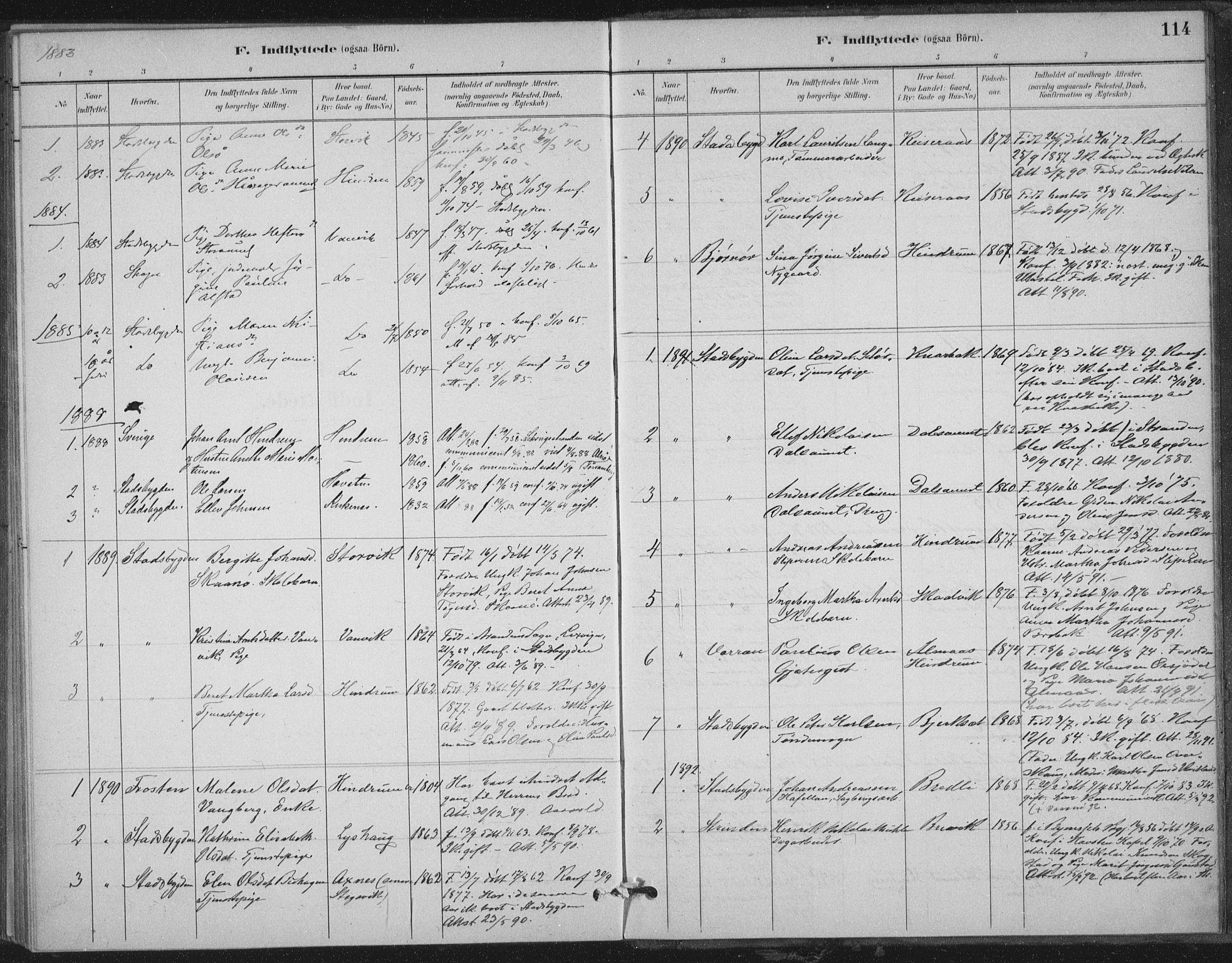 SAT, Ministerialprotokoller, klokkerbøker og fødselsregistre - Nord-Trøndelag, 702/L0023: Ministerialbok nr. 702A01, 1883-1897, s. 114