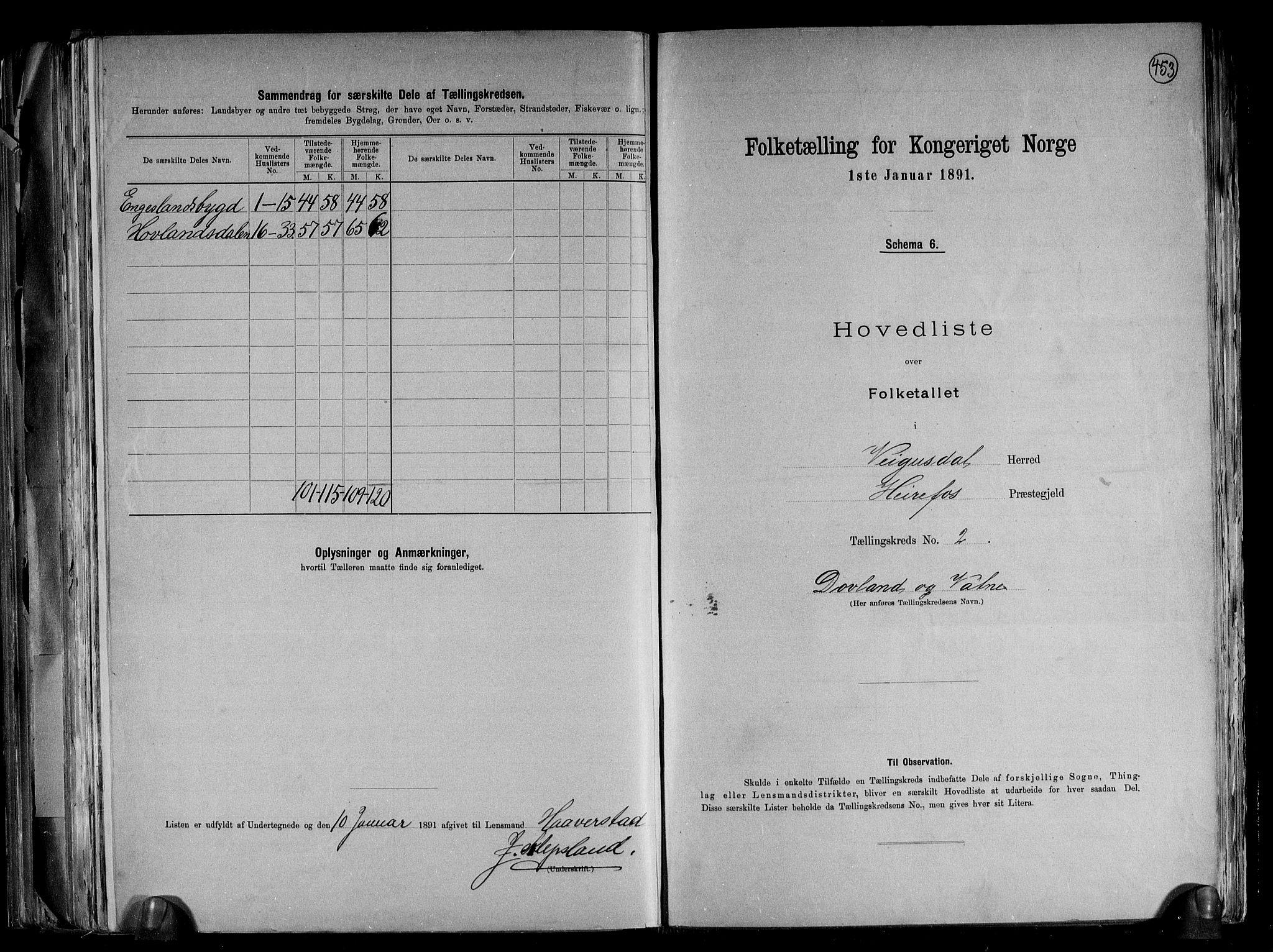 RA, Folketelling 1891 for 0934 Vegusdal herred, 1891, s. 7