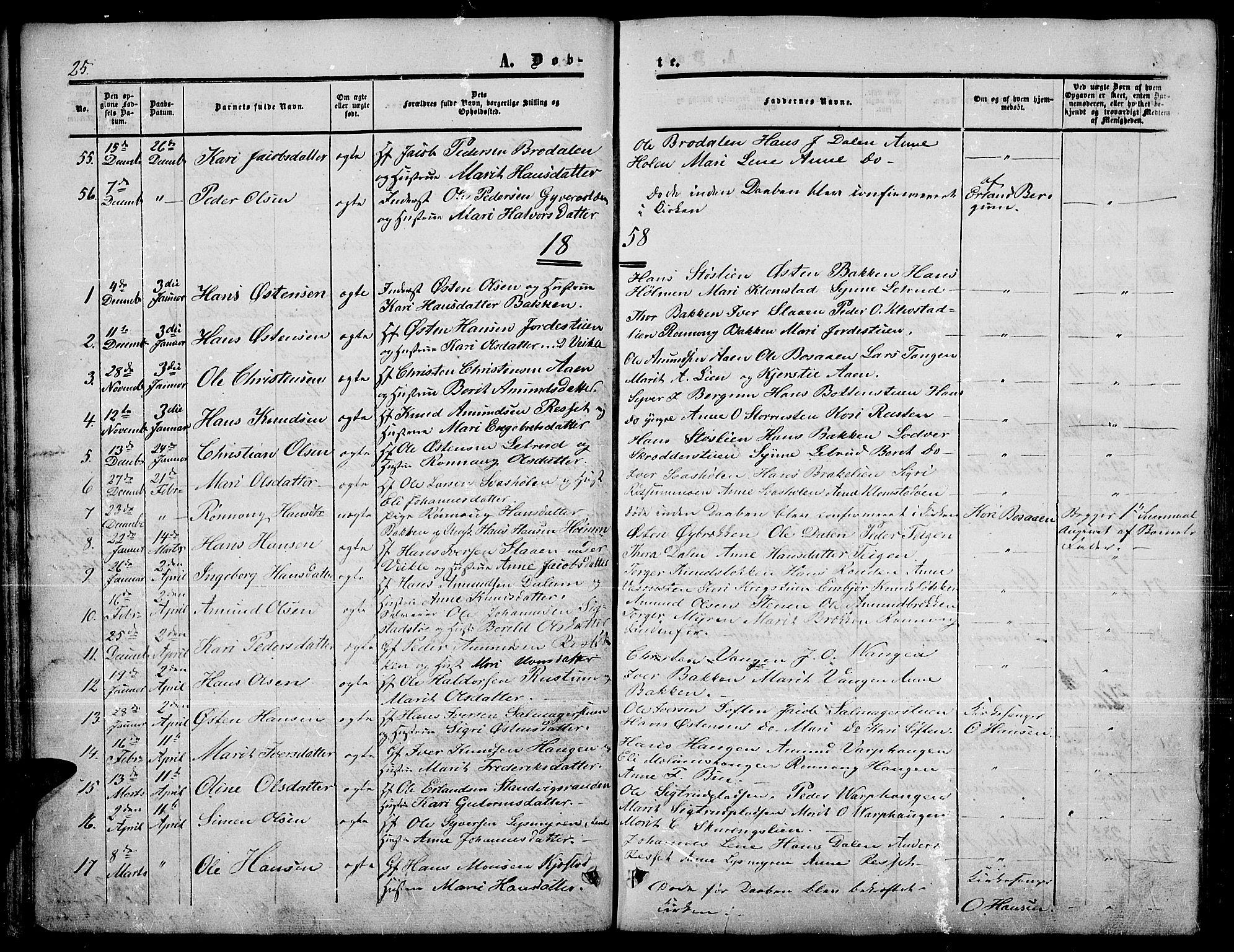 SAH, Nord-Fron prestekontor, Klokkerbok nr. 3, 1851-1886, s. 25