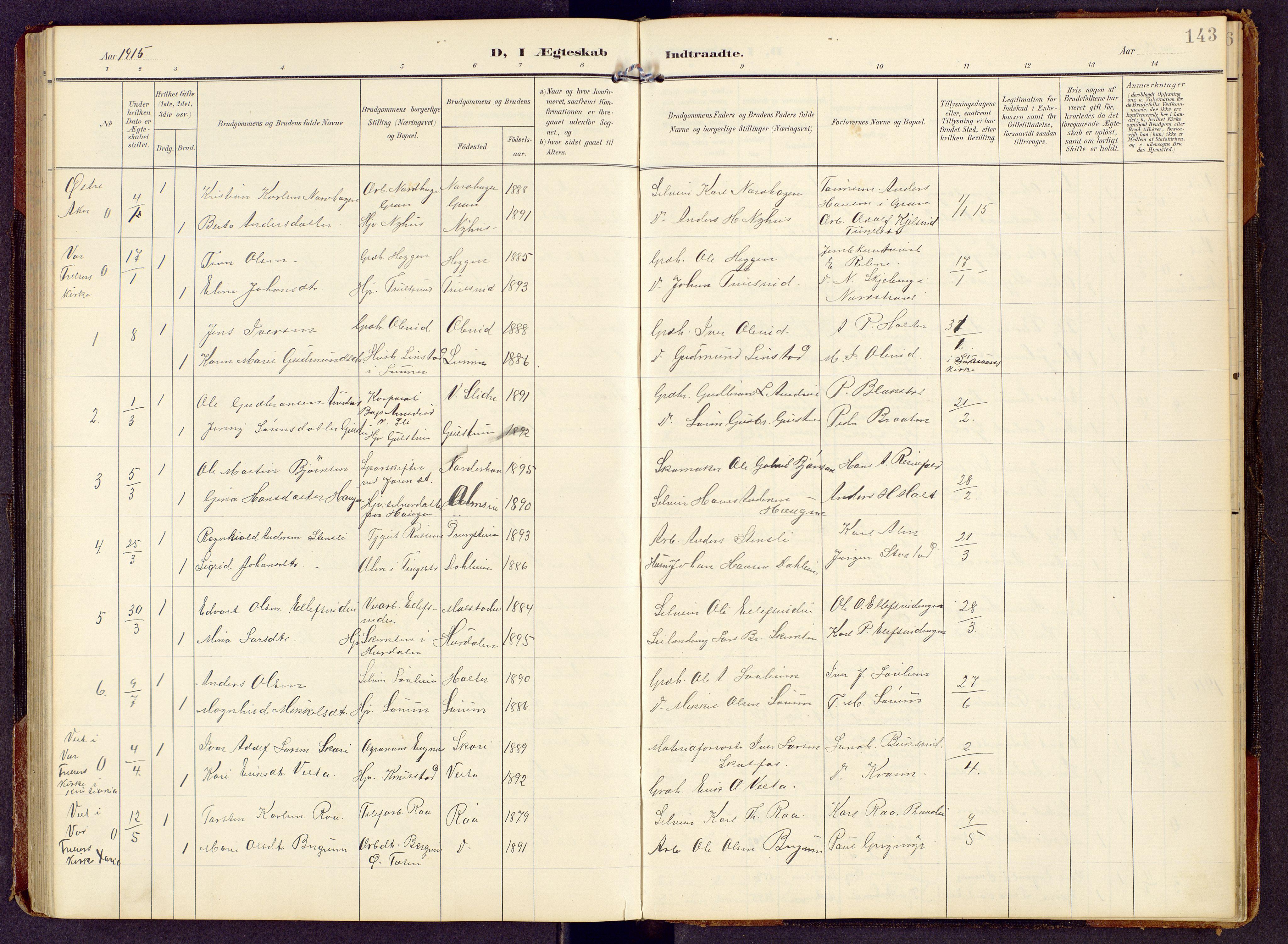 SAH, Brandbu prestekontor, Klokkerbok nr. 9, 1903-1916, s. 143