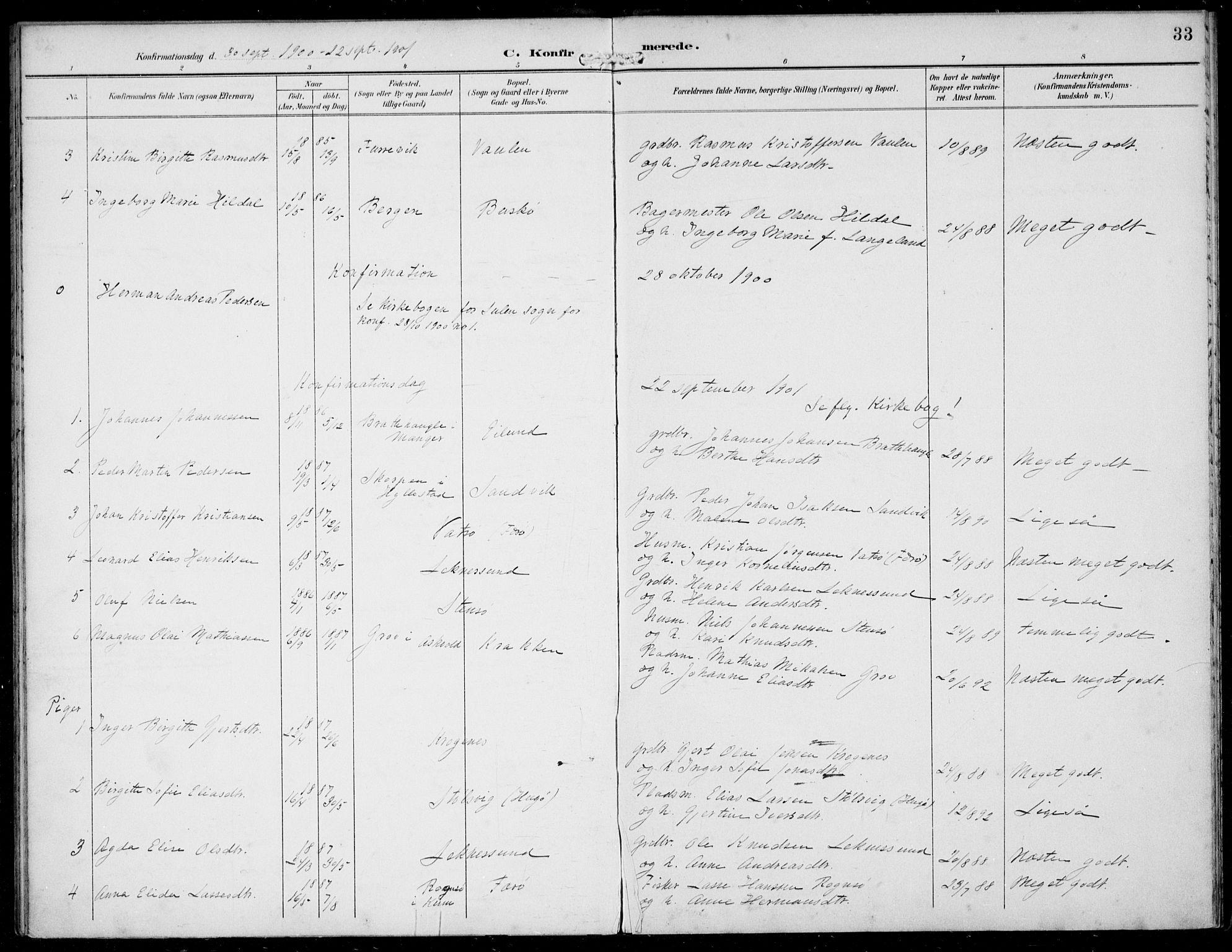 SAB, Solund sokneprestembete, Ministerialbok nr. B  1, 1891-1901, s. 33