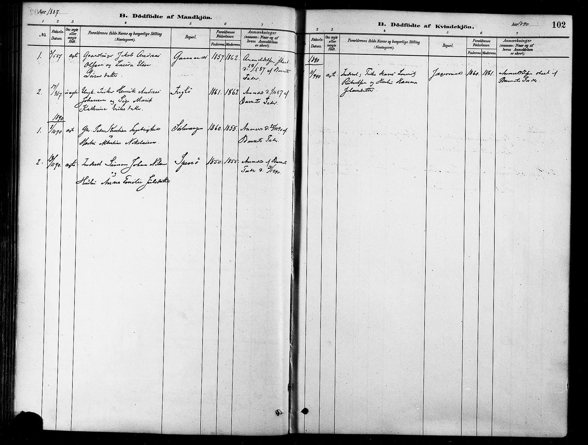 SATØ, Karlsøy sokneprestembete, H/Ha/Haa/L0006kirke: Ministerialbok nr. 6, 1879-1890, s. 102