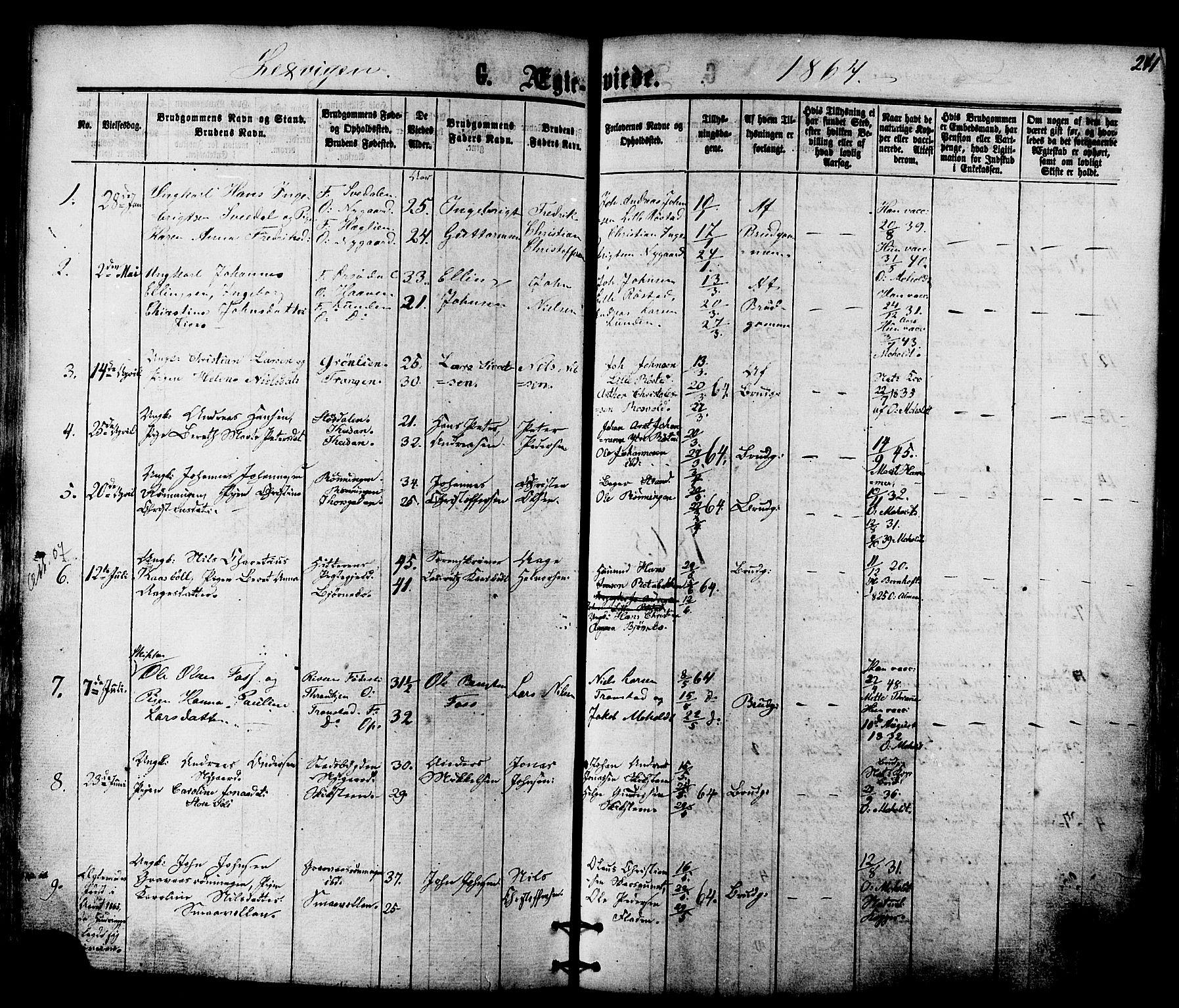 SAT, Ministerialprotokoller, klokkerbøker og fødselsregistre - Nord-Trøndelag, 701/L0009: Ministerialbok nr. 701A09 /1, 1864-1882, s. 241