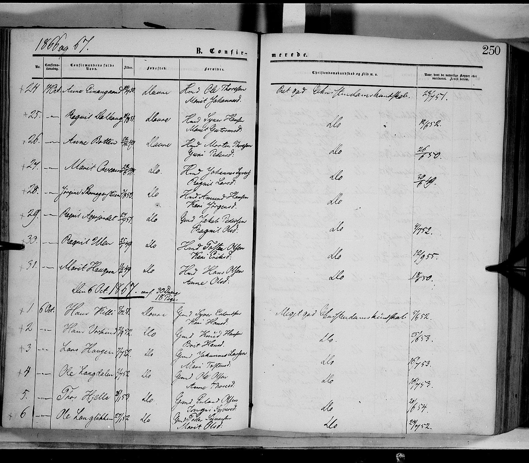 SAH, Dovre prestekontor, Ministerialbok nr. 1, 1854-1878, s. 250