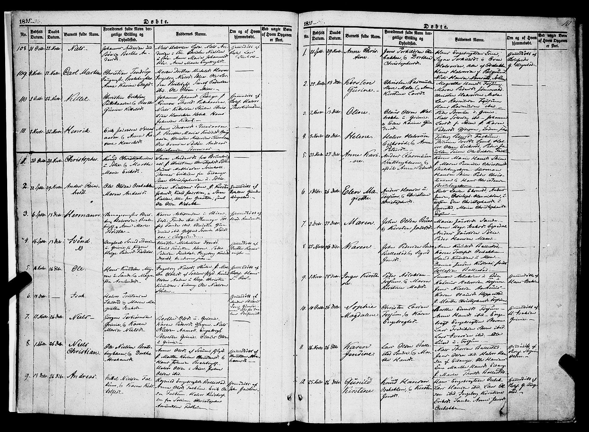 SAKO, Gjerpen kirkebøker, F/Fa/L0007a: Ministerialbok nr. 7A, 1834-1857, s. 10