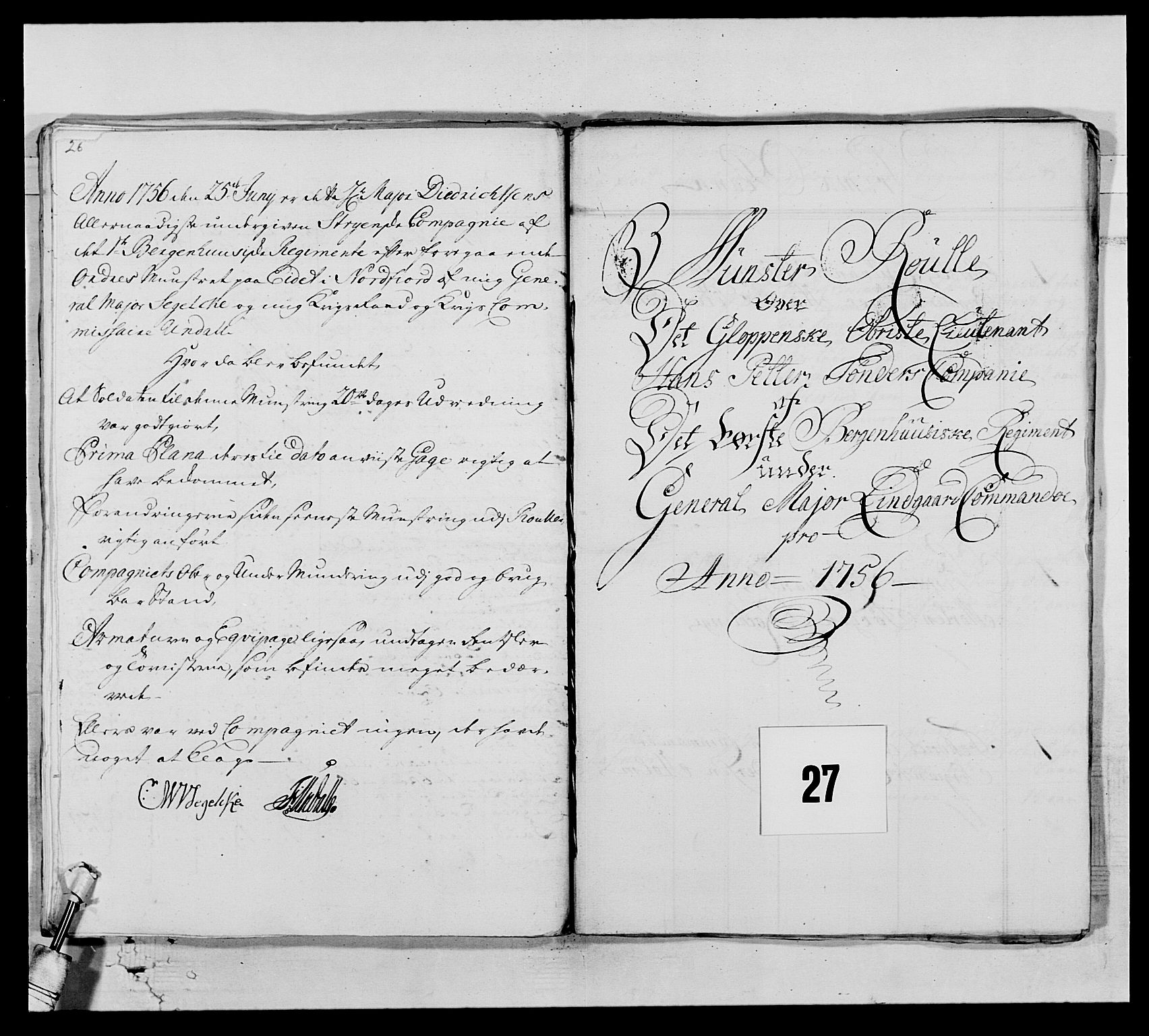RA, Kommanderende general (KG I) med Det norske krigsdirektorium, E/Ea/L0517: 1. Bergenhusiske regiment, 1742-1756, s. 399