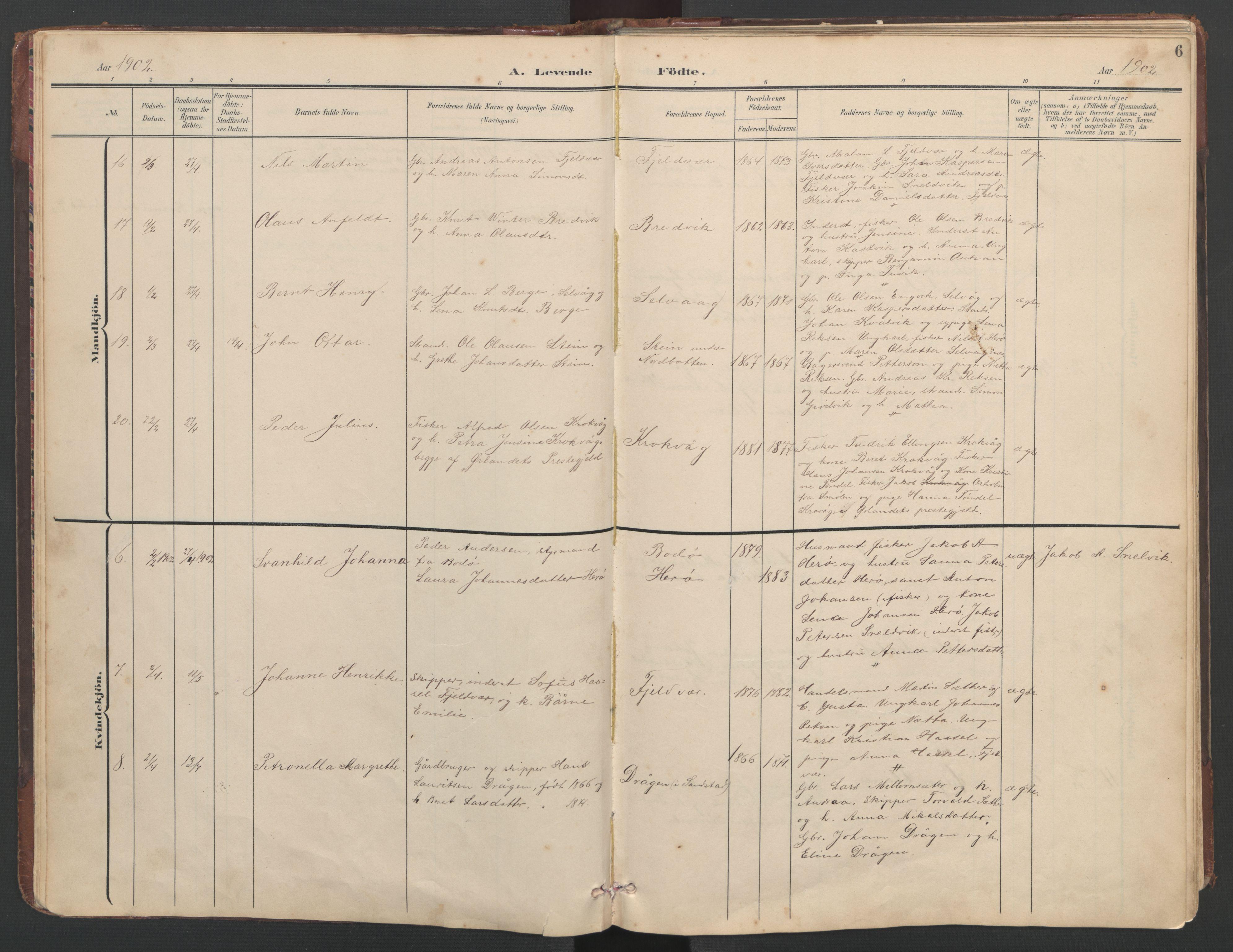 SAT, Ministerialprotokoller, klokkerbøker og fødselsregistre - Sør-Trøndelag, 638/L0571: Klokkerbok nr. 638C03, 1901-1930, s. 6